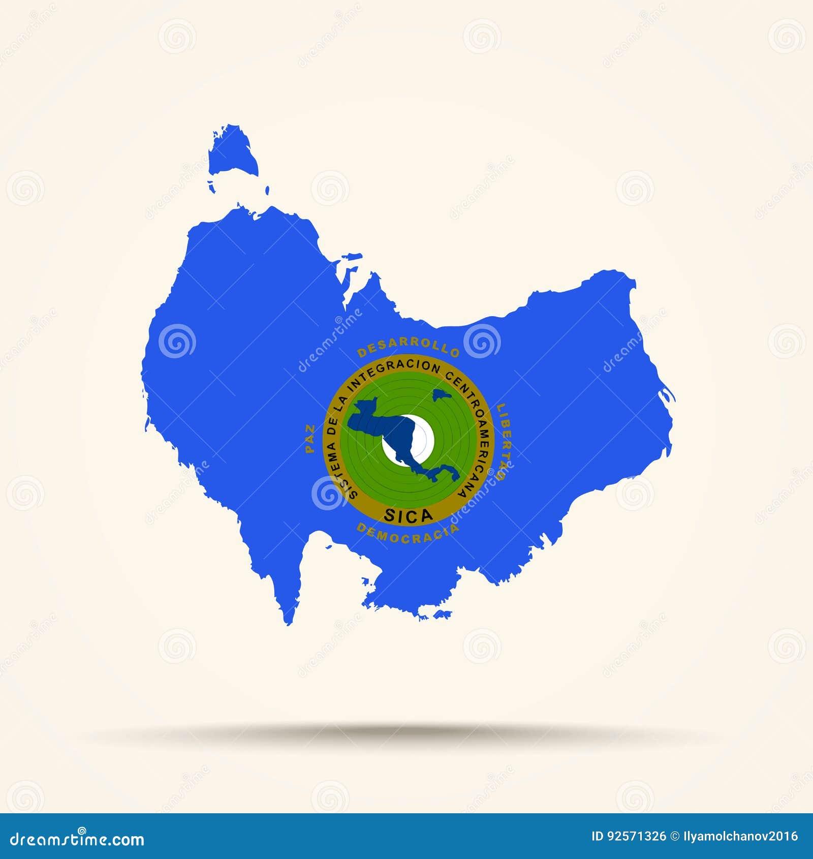 Mappa dell Australia nel passo centro americano della bandiera del sistema di integrazione