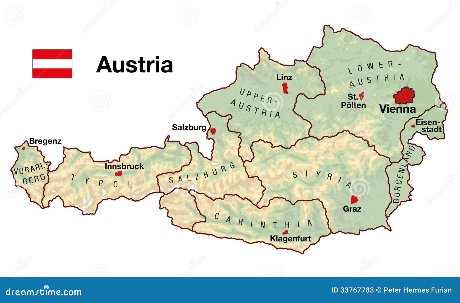 Cartina Del Austria.Mappa Dell Austria Illustrazione Di Stock Illustrazione Di Topografia 33767783