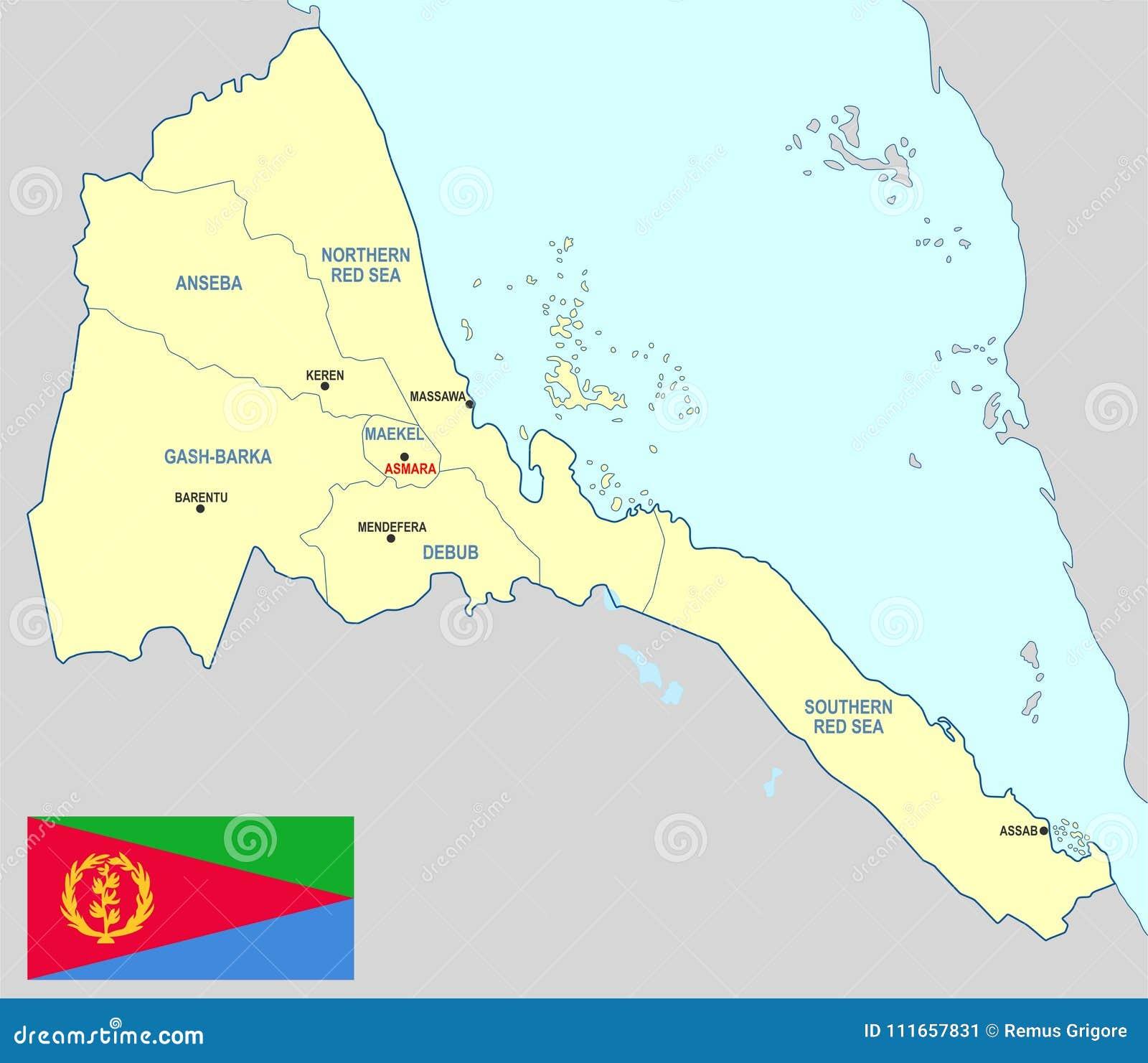 Cartina Eritrea.Mappa Dell Eritrea Illustrazione Vettoriale Illustrazione Di Province 111657831