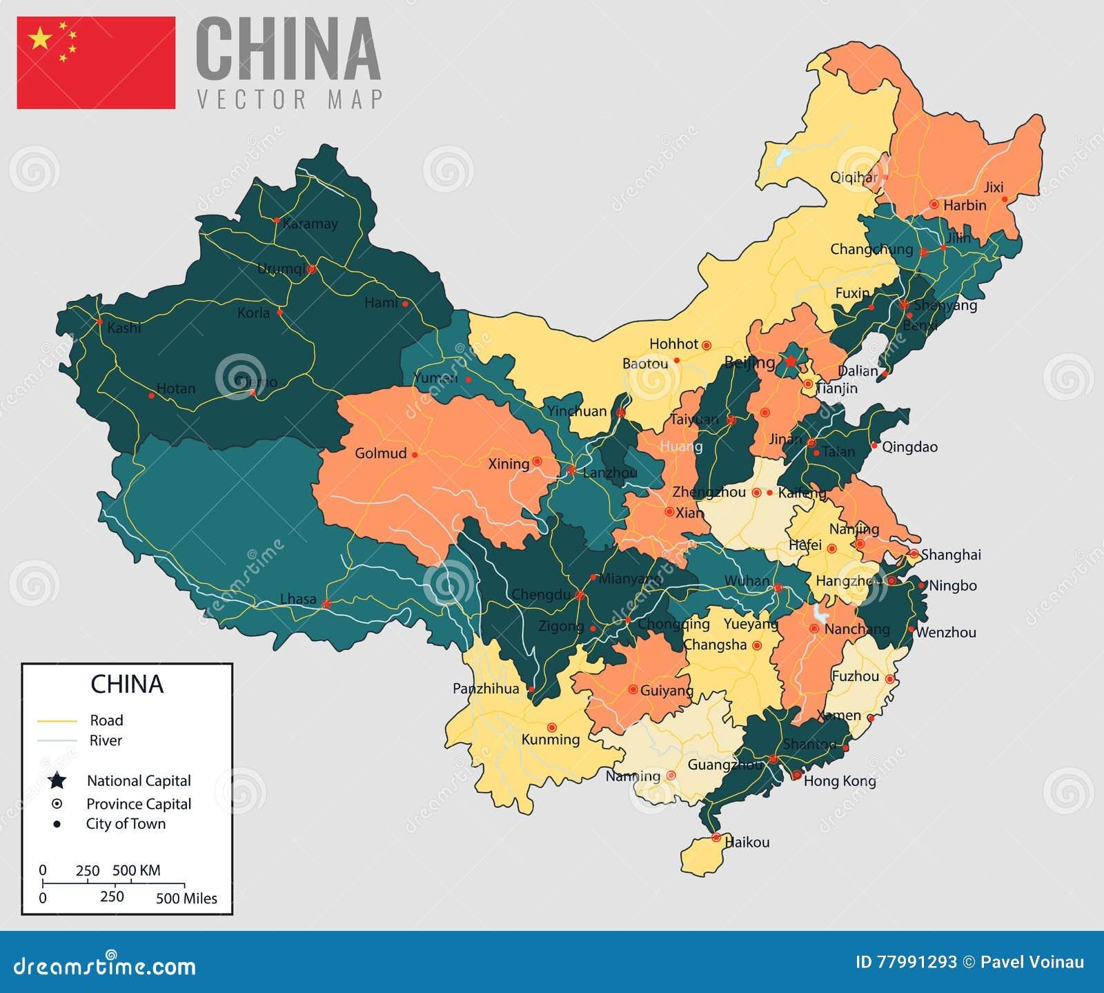 Cartina Cina Con Province.Mappa Della Cina Con Le Province Tutti I Territori Sono Selezionabili Vettore Illustrazione Vettoriale Illustrazione Di Profilo Cinese 77991293