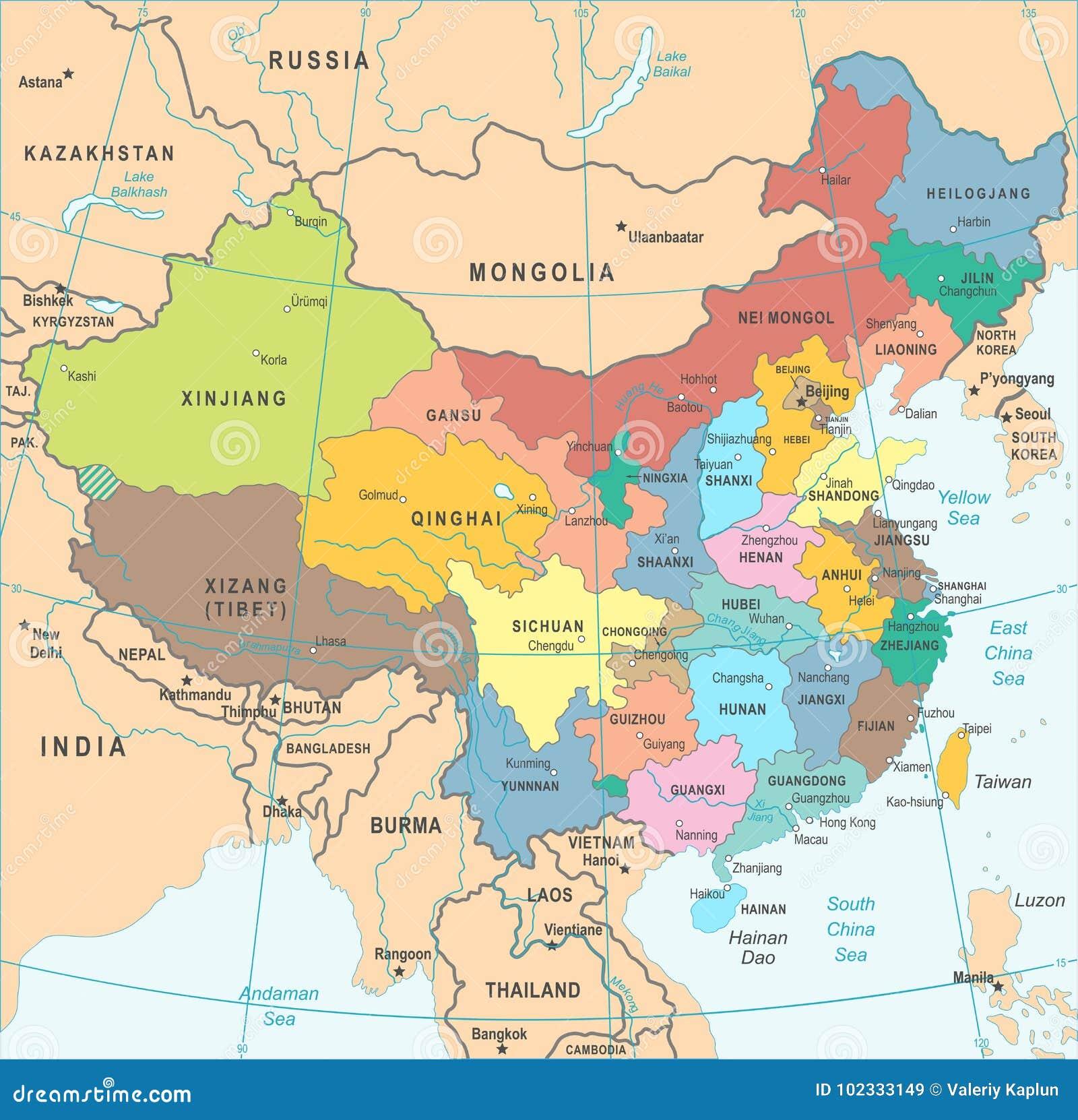 Cartina Geografica Della Cina.Mappa Della Cina Illustrazione Di Vettore Illustrazione Di Stock Illustrazione Di Colore Napper 102333149