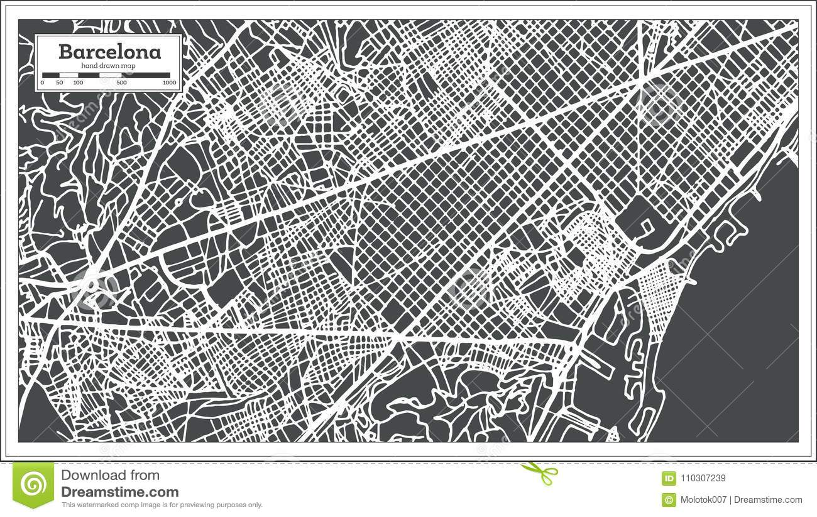 Cartina Barcellona Dettagliata.Mappa Della Citta Di Barcellona Spagna Nel Retro Stile Illustrazione In Bianco E Nero Di Vettore Illustrazione Vettoriale Illustrazione Di Arte Dissipato 110307239