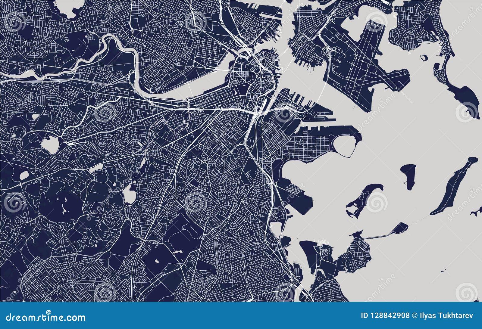 Mappa della città di Boston, U.S.A.