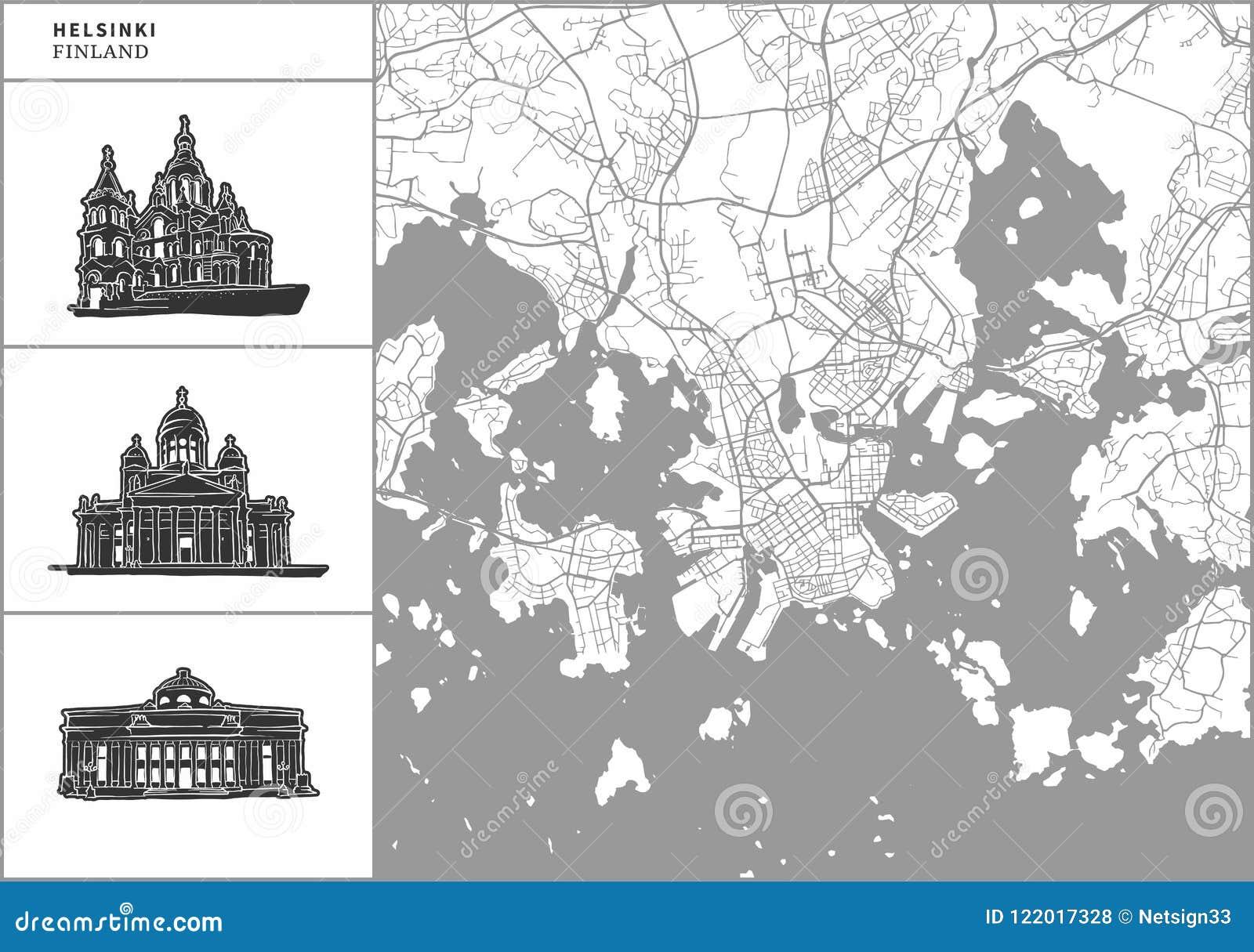 Mappa della città di Helsinki con le icone disegnate a mano di architettura
