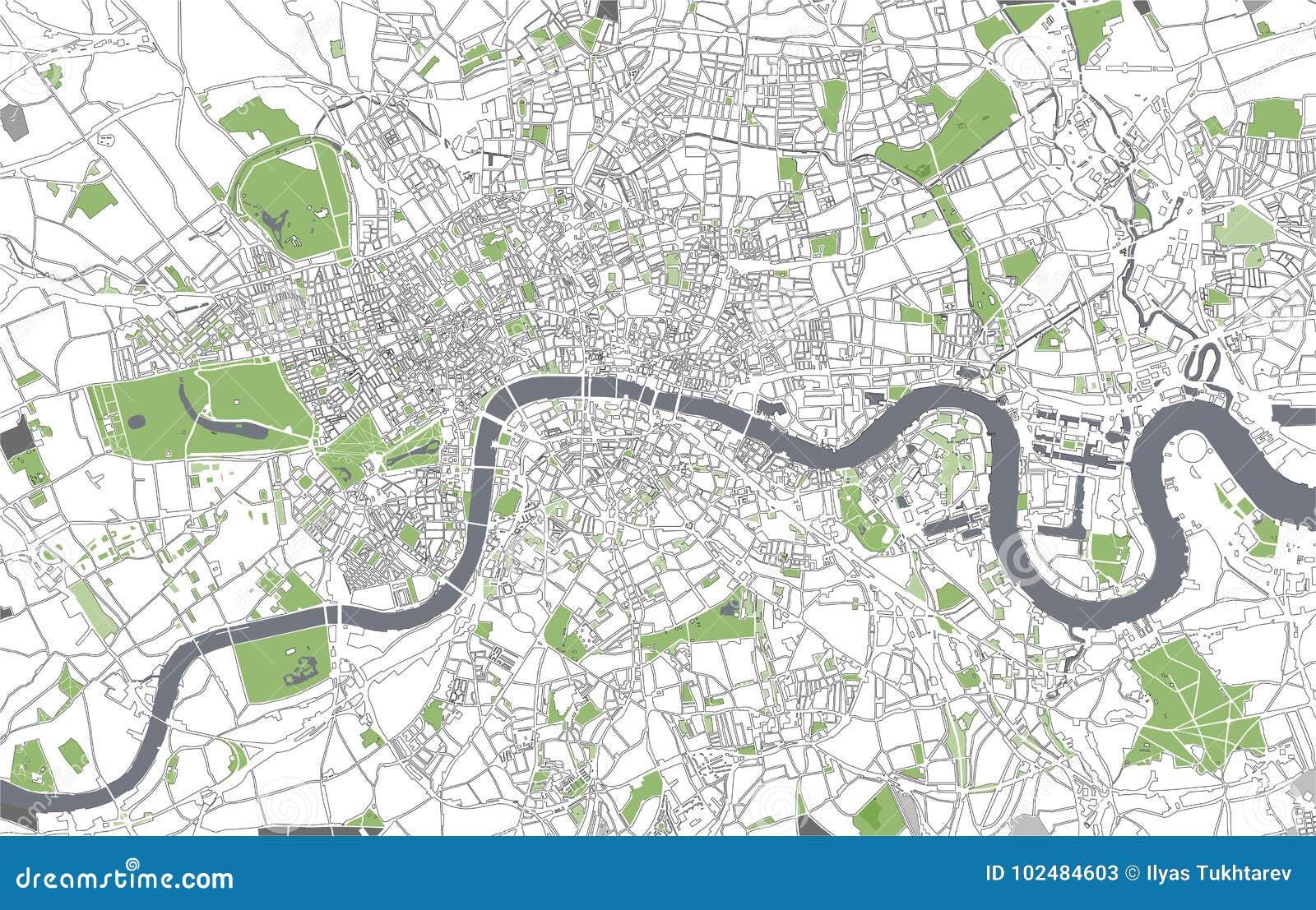 Cartina Stradale Londra.Mappa Della Citta Di Londra Gran Bretagna Illustrazione Di Stock Illustrazione Di Geografico Grigio 102484603