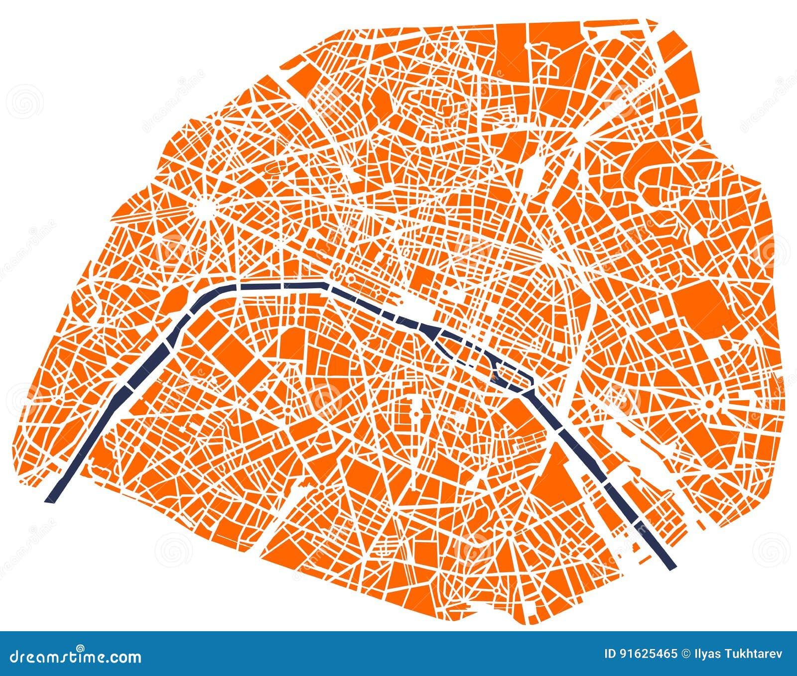 Cartina Politica Di Parigi.Mappa Della Citta Di Parigi Francia Illustrazione Vettoriale Illustrazione Di Fiume Verde 91625465