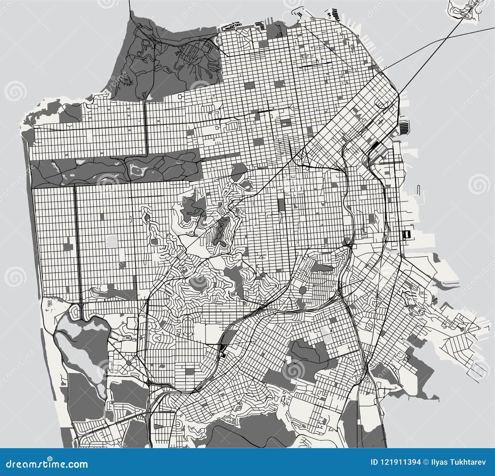 Mappa della città di San Francisco, U.S.A.