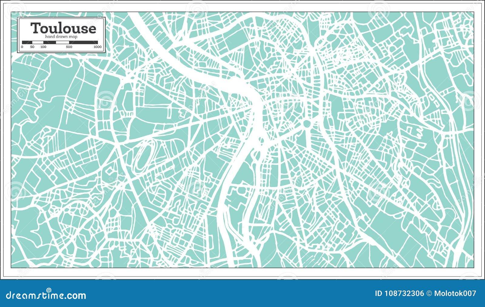 Cartina Francia Tolosa.Mappa Della Citta Di Tolosa Francia Nel Retro Stile Illustrazione In Bianco E Nero Di Vettore Illustrazione Vettoriale Illustrazione Di Telaio Nearsighted 108732306