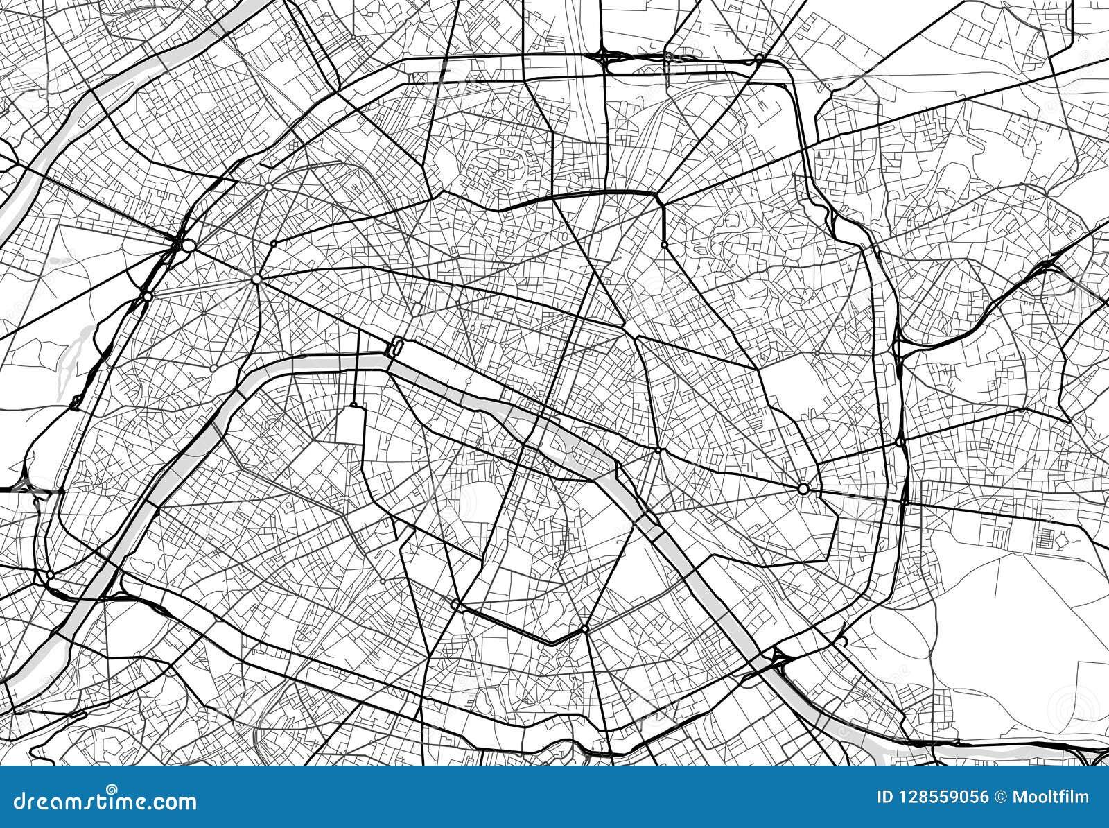 Cartina Politica Di Parigi.Mappa Della Citta Di Vettore Di Parigi In Bianco E Nero Illustrazione Vettoriale Illustrazione Di Orizzontale Disposizione 128559056