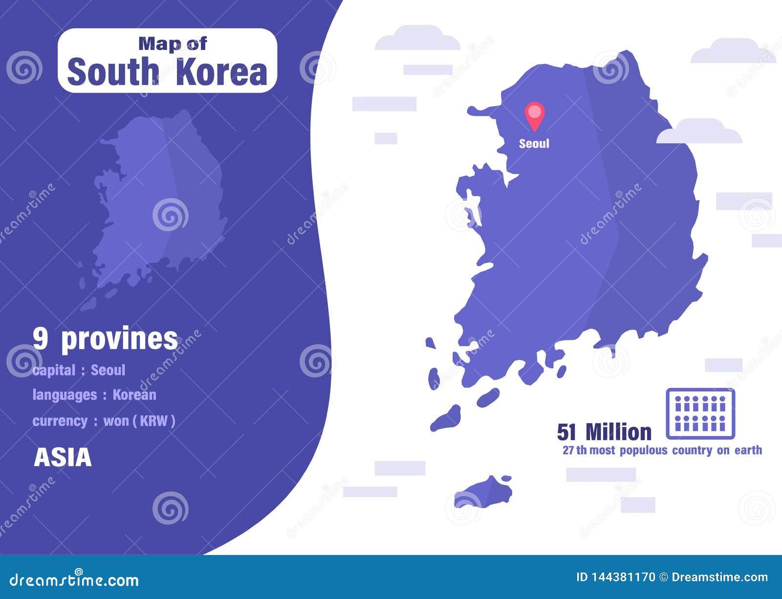 Mappa della Corea del Sud Numero di geografia del mondo e della popolazione