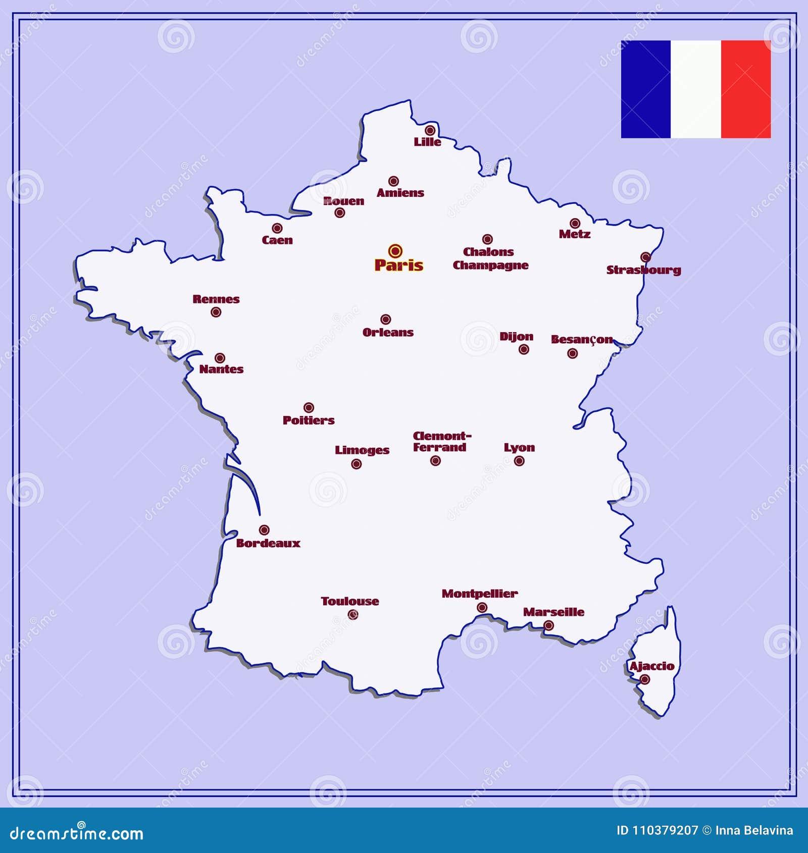 Cartina Francia Con Citta.Mappa Della Francia Con Le Grandi Citta Illustrazione Di