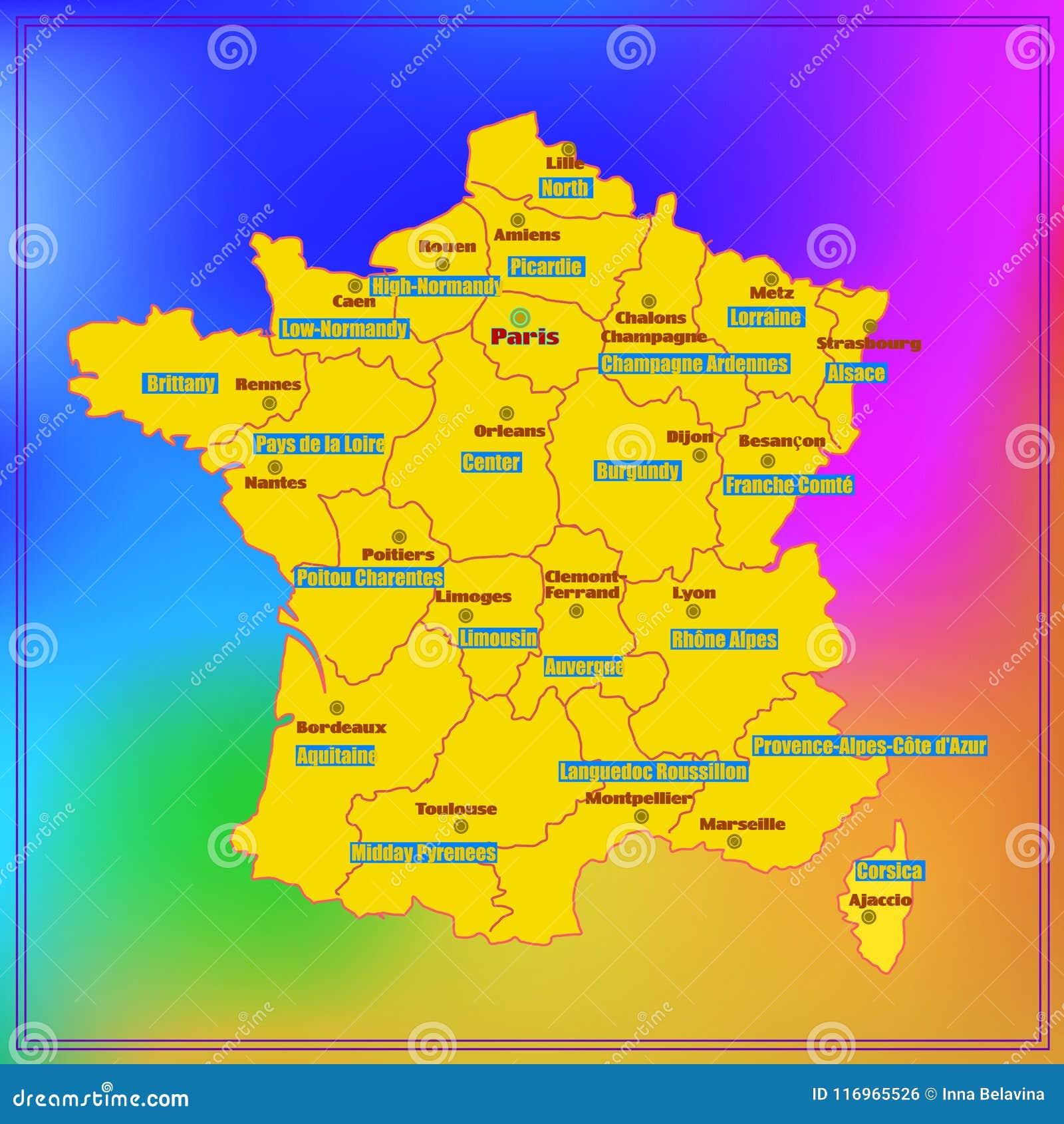 Regioni Francia Cartina.Mappa Della Francia Con Le Regioni Francesi Illustrazione Di Stock Illustrazione Di Coltura Grande 116965526