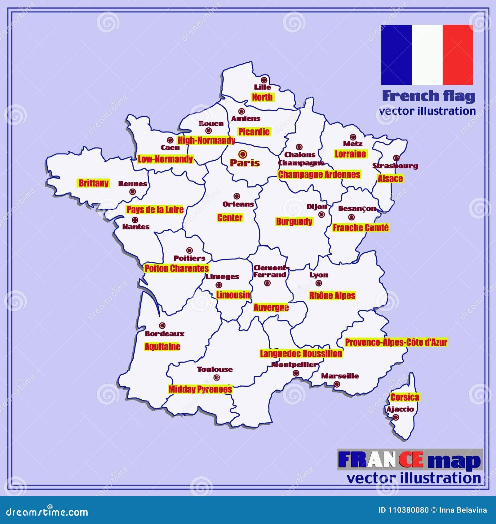 Mappa Della Francia Con Le Regioni Francesi Vettore Illustrazione