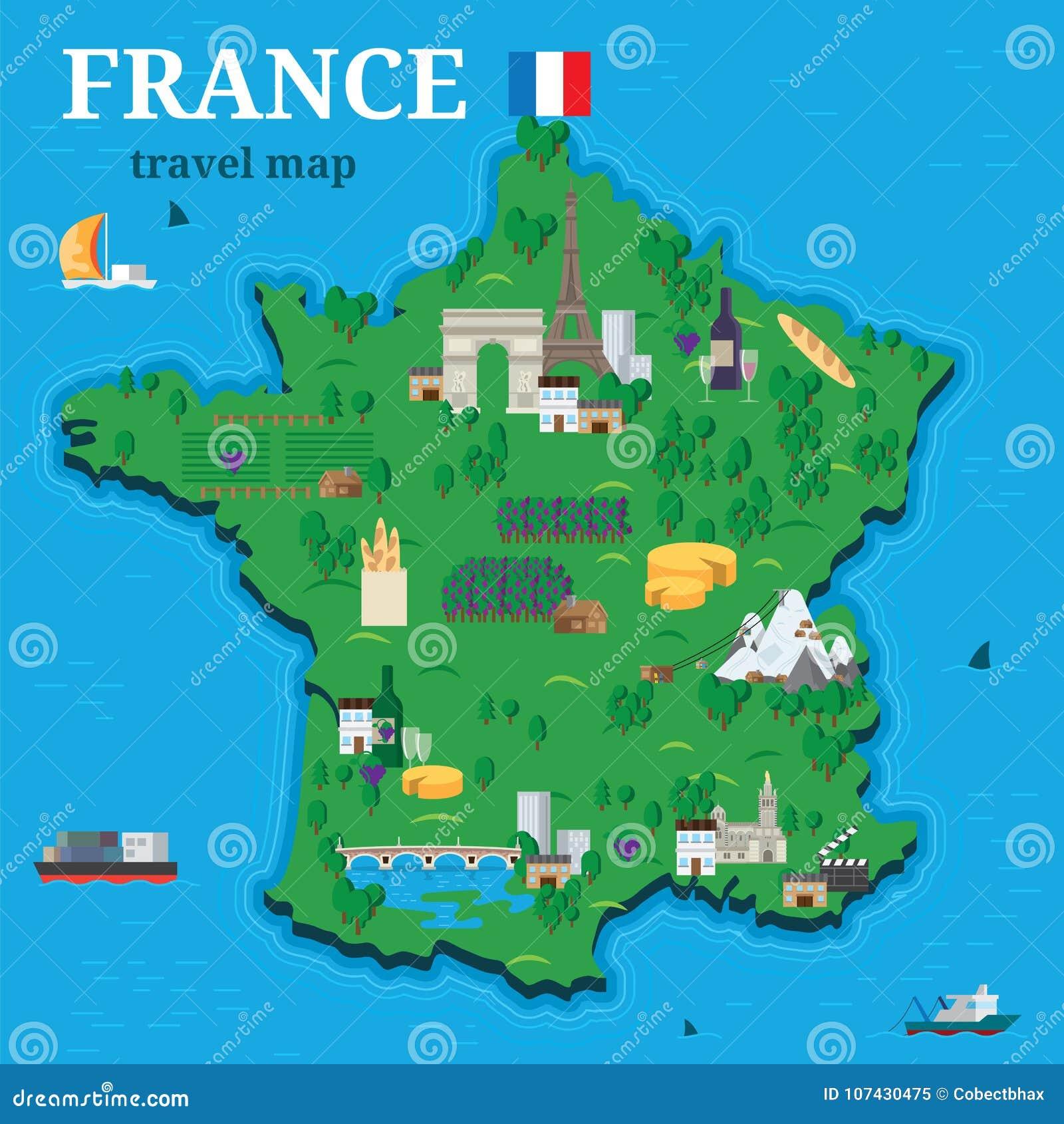 Cartina Della Francia Con Monumenti.Mappa Della Francia Per Il Viaggiatore Con Stile Piano Delle Attrazioni Turistiche Di Progettazione Locale Di Vettore Illustrazione Vettoriale Illustrazione Di Illustrazione Coltura 107430475