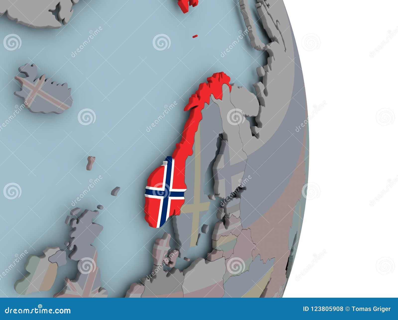 Cartina Politica Norvegia.Mappa Della Norvegia Sul Globo Politico Con La Bandiera Illustrazione Di Stock Illustrazione Di Norvegia Simbolo 123805908