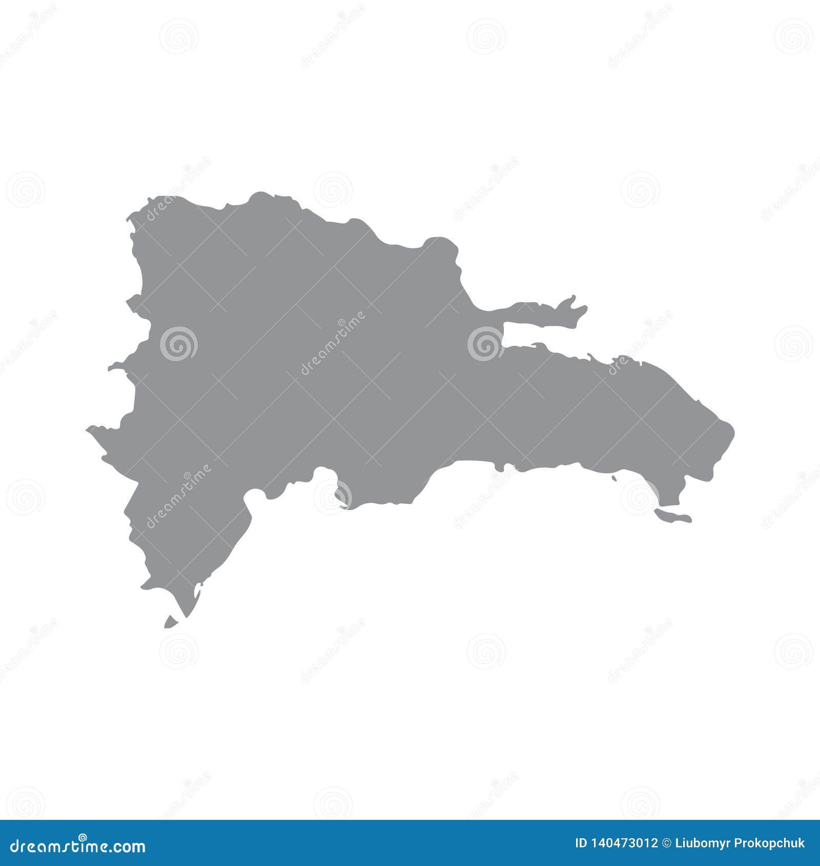 Mappa della Repubblica dominicana nel gray su un fondo bianco