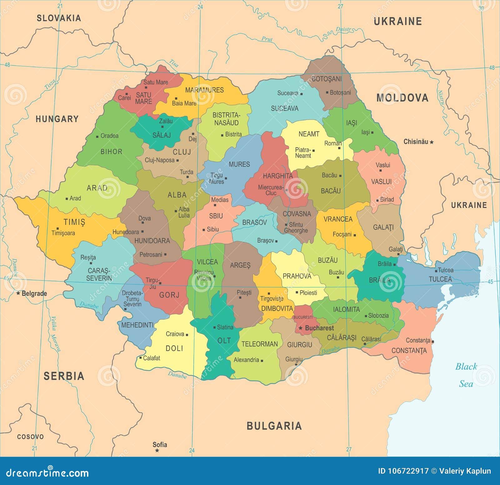 Cartina Geografica Politica Della Romania.Mappa Della Romania Illustrazione Dettagliata Di Vettore Illustrazione Di Stock Illustrazione Di Vettore Europa 106722917