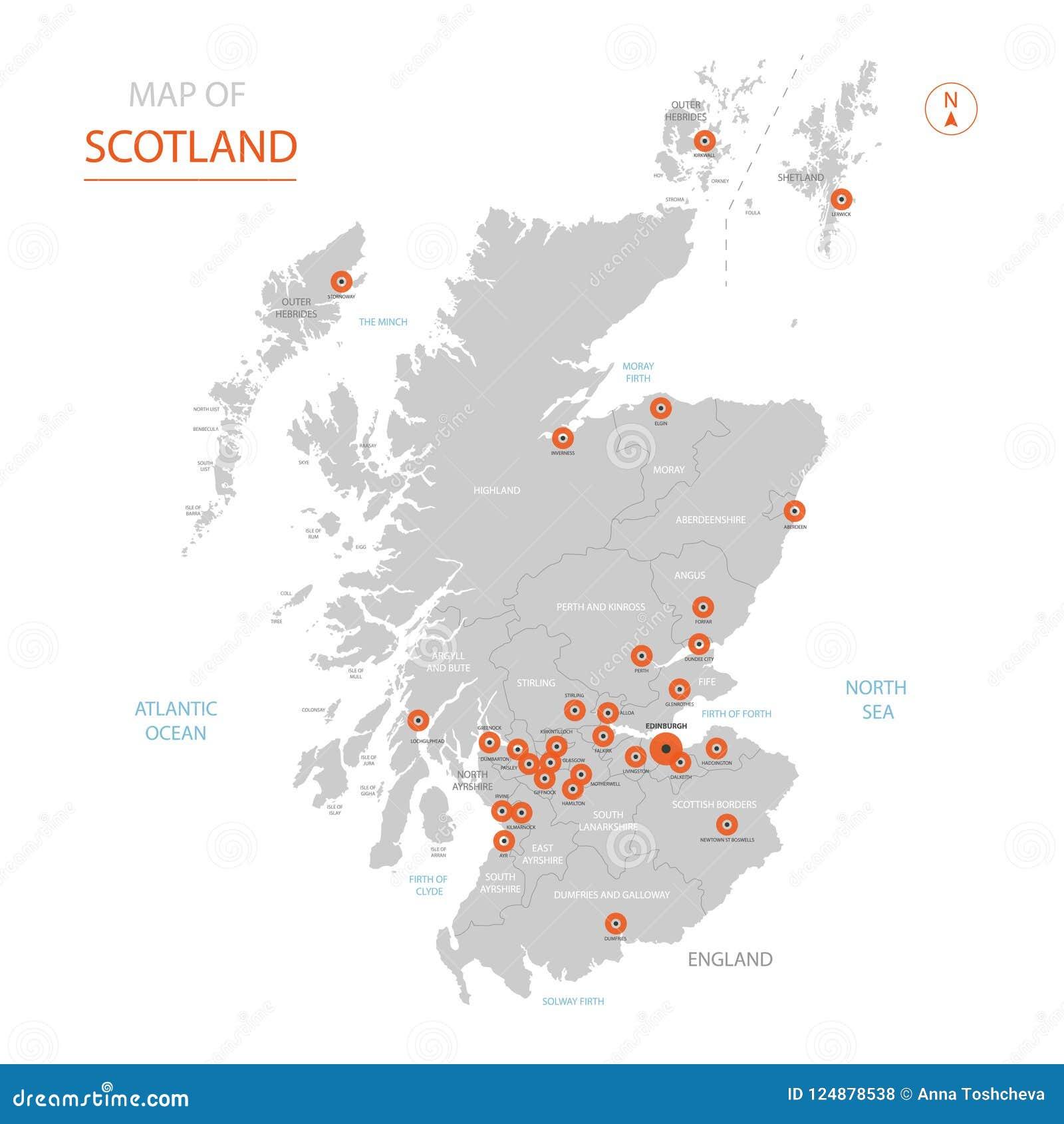 Cartina Geografica Della Scozia.Mappa Della Scozia Con Le Divisioni Amministrative Illustrazione Vettoriale Illustrazione Di Geografico Politico 124878538