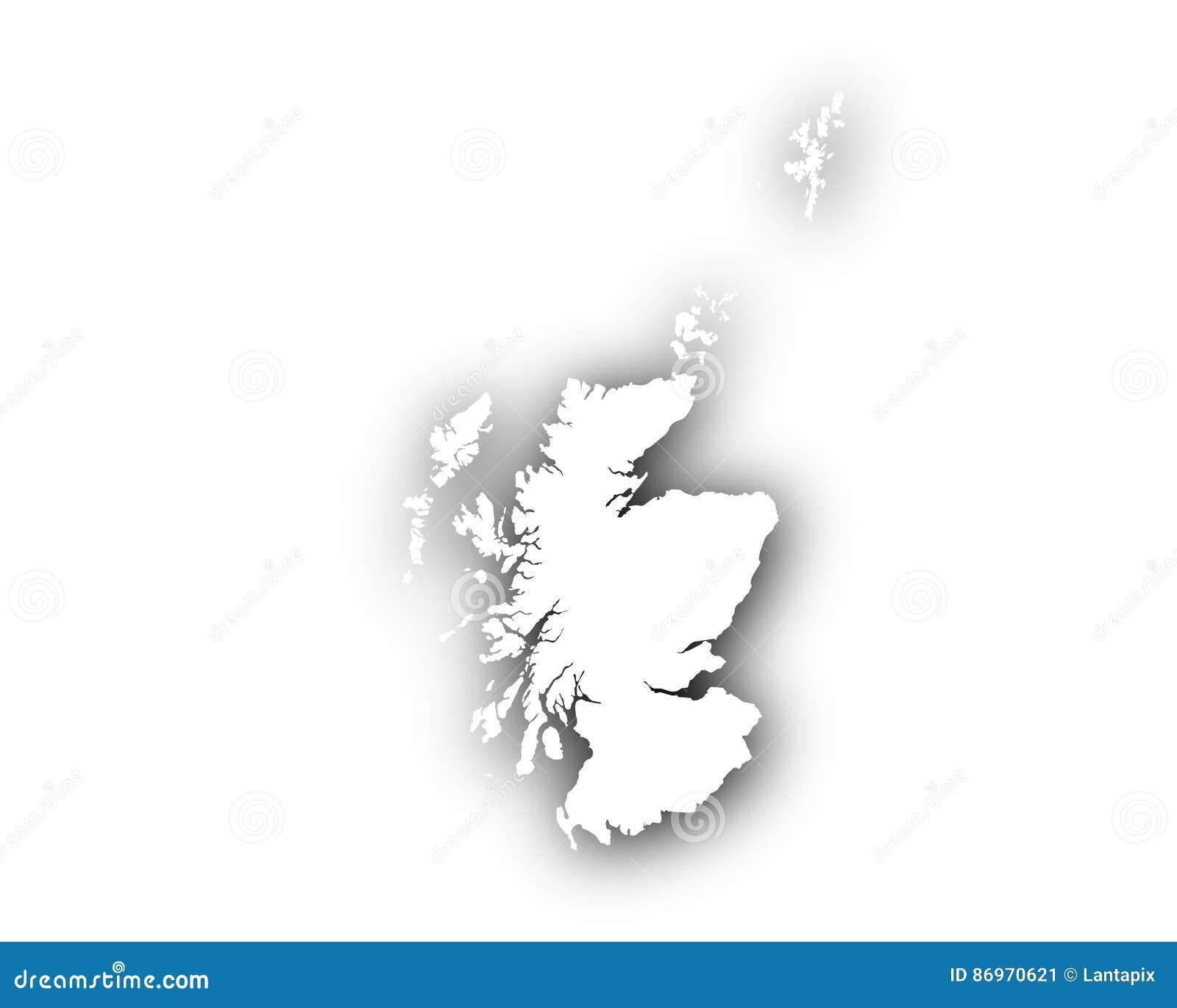Scozia Cartina Dettagliata.Mappa Della Scozia Con Ombra Illustrazione Vettoriale Illustrazione Di Naturalizzisi Spaziale 86970621
