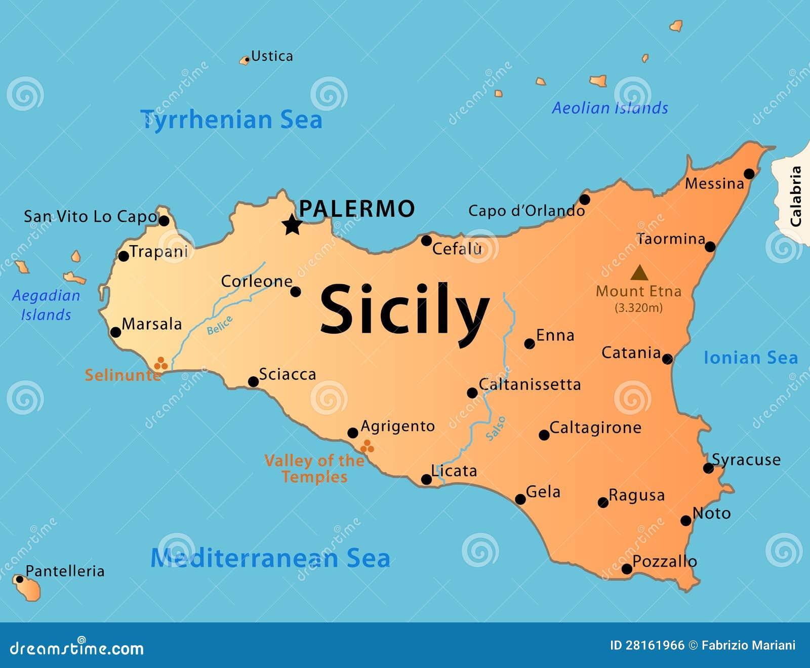 Cartina Della Sicilia Con Tutte Le Citta.Mappa Della Sicilia Illustrazione Vettoriale Illustrazione Di Tracciato 28161966