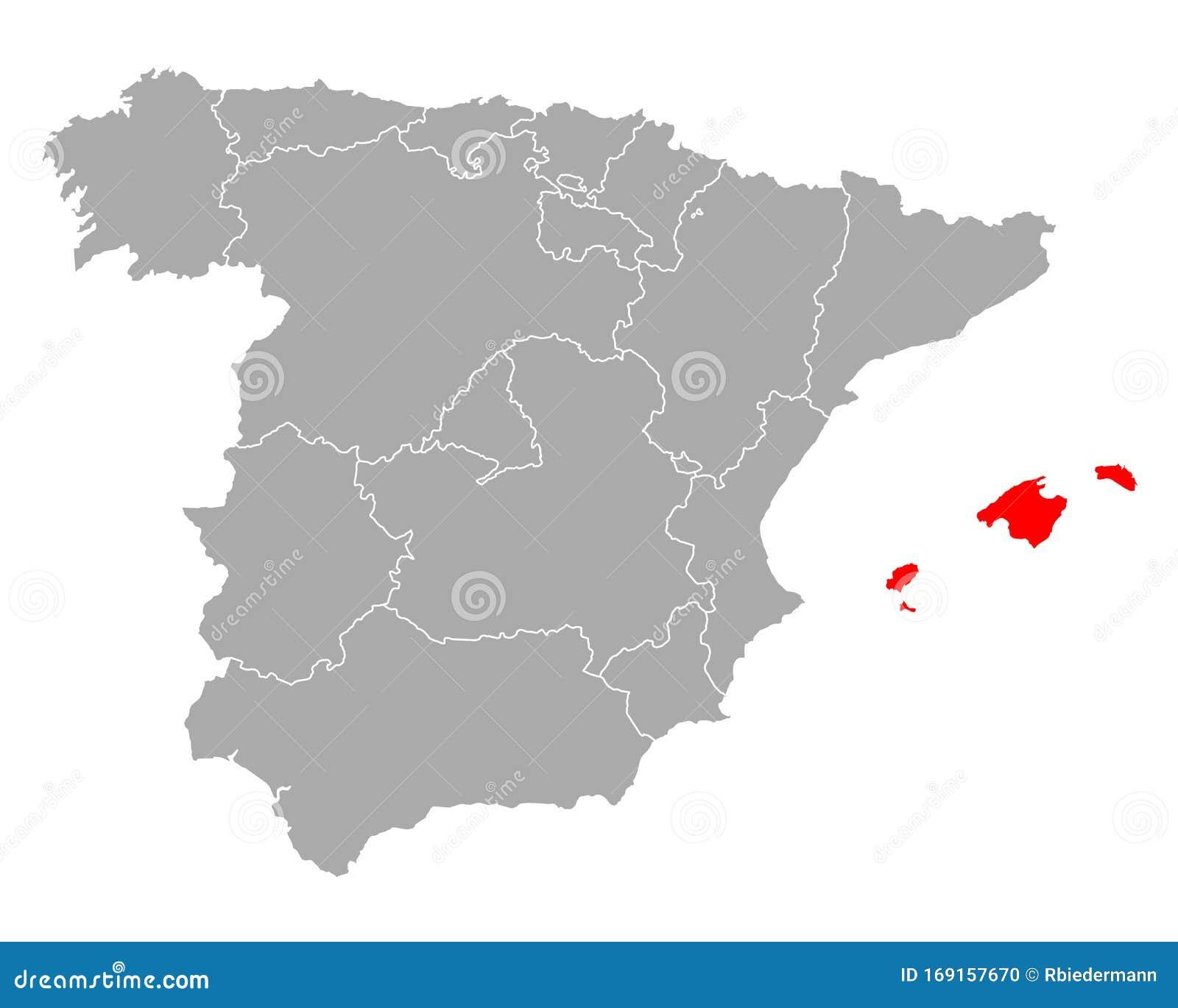Cartina Spagna Isole Baleari.Mappa Delle Isole Baleari In Spagna Illustrazione Vettoriale Illustrazione Di Regione Spruzzo 169157670