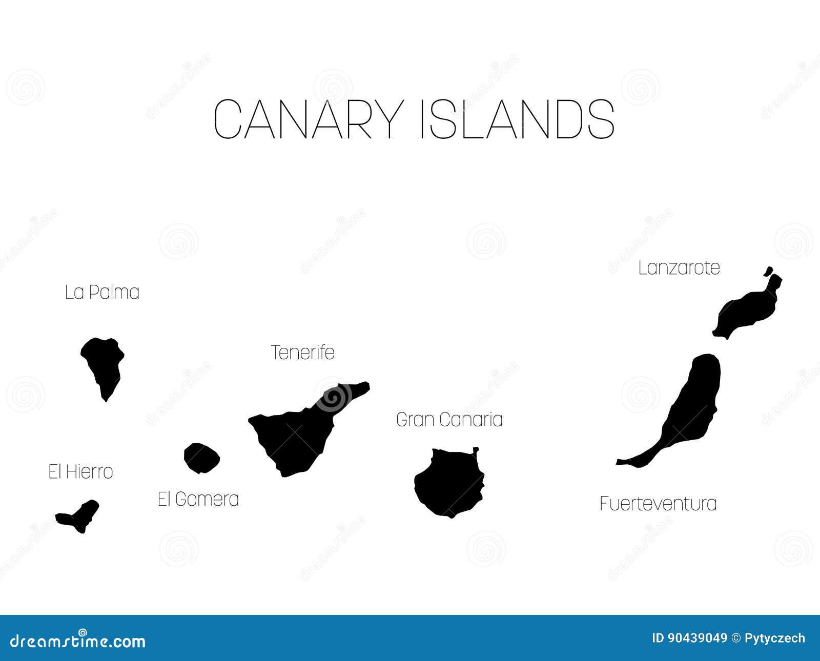 Cartina Spagna Fuerteventura.Mappa Delle Isole Canarie Spagna Con Le Etichette Di Ogni Isola El Hierro La Palma La Gomera Tenerife Gran Canaria Illustrazione Vettoriale Illustrazione Di Nero Cartografia 90439049
