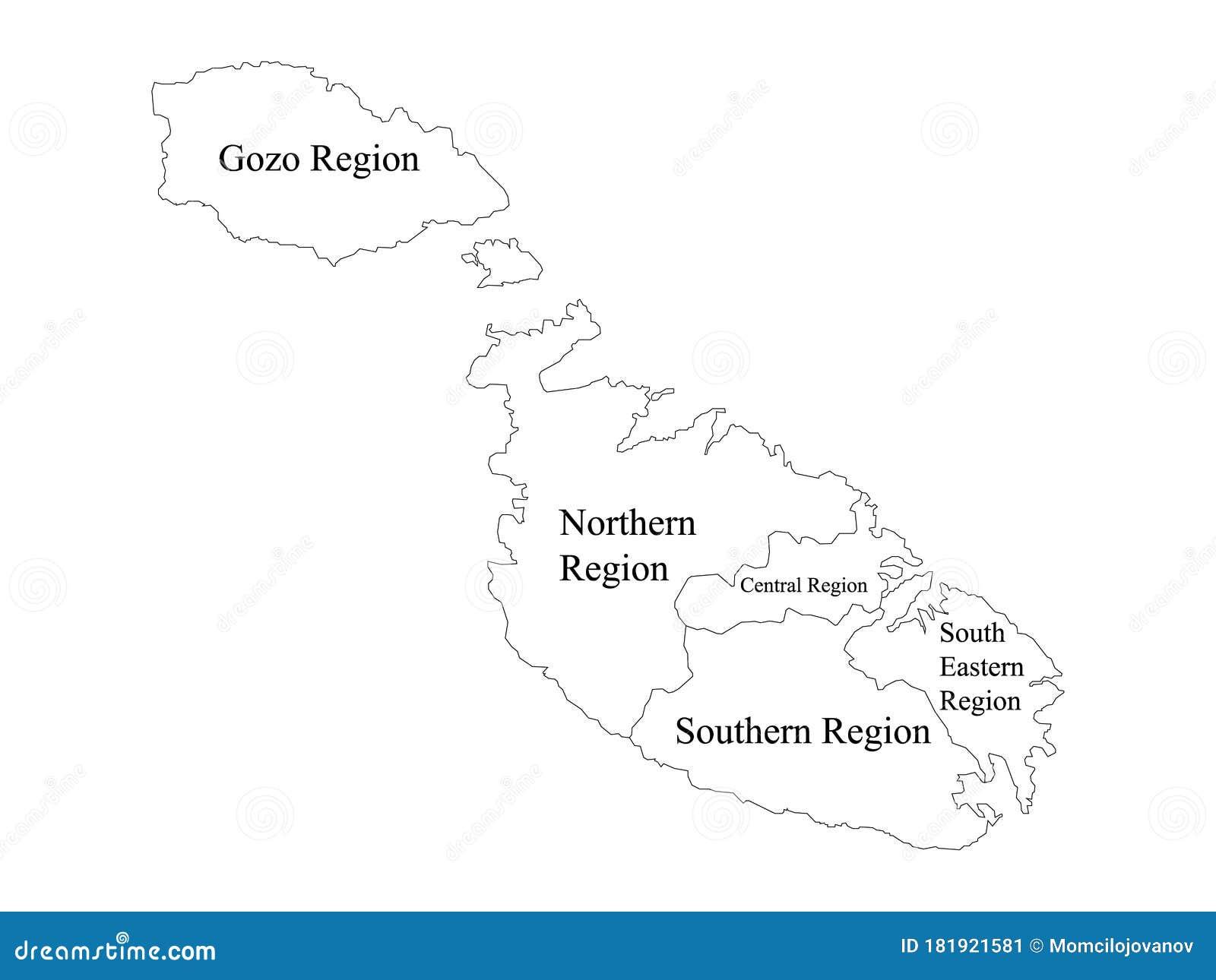 Cartina Geografica Isola Di Malta.Mappa Delle Regioni Di Malta Illustrazione Vettoriale Illustrazione Di Europeo Regione 181921581