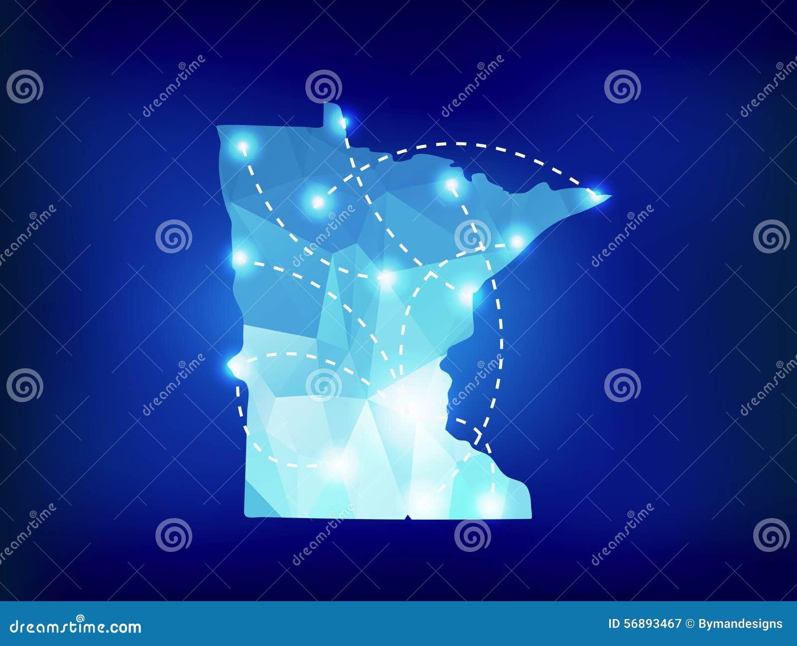 Mappa dello stato del Minnesota poligonale con i posti dei riflettori