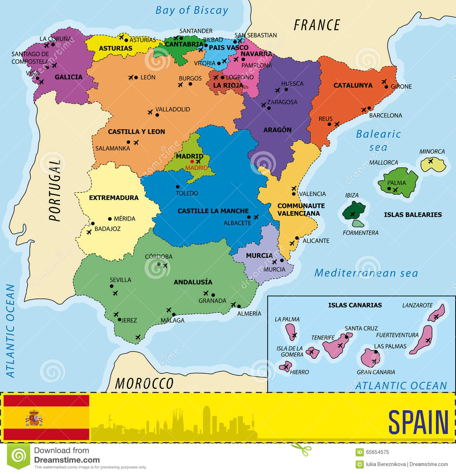 Cartina Della Spagna Con Le Regioni.Mappa Dettagliata Di Vettore Della Spagna Illustrazione