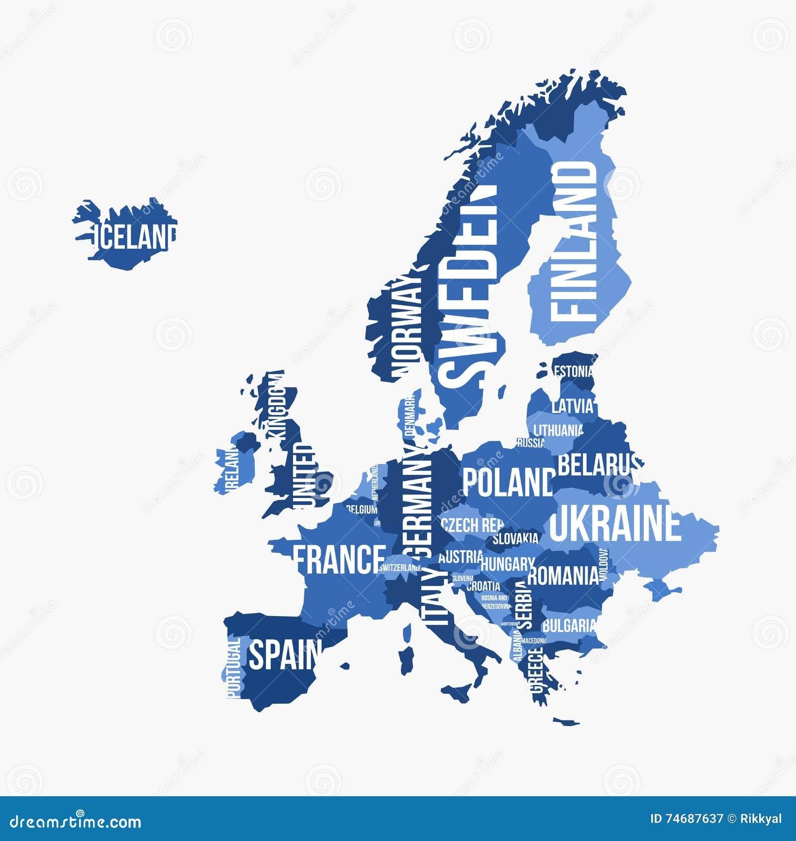 Mappa dettagliata di vettore di europa con i confini - Mappa di ungheria ed europa ...