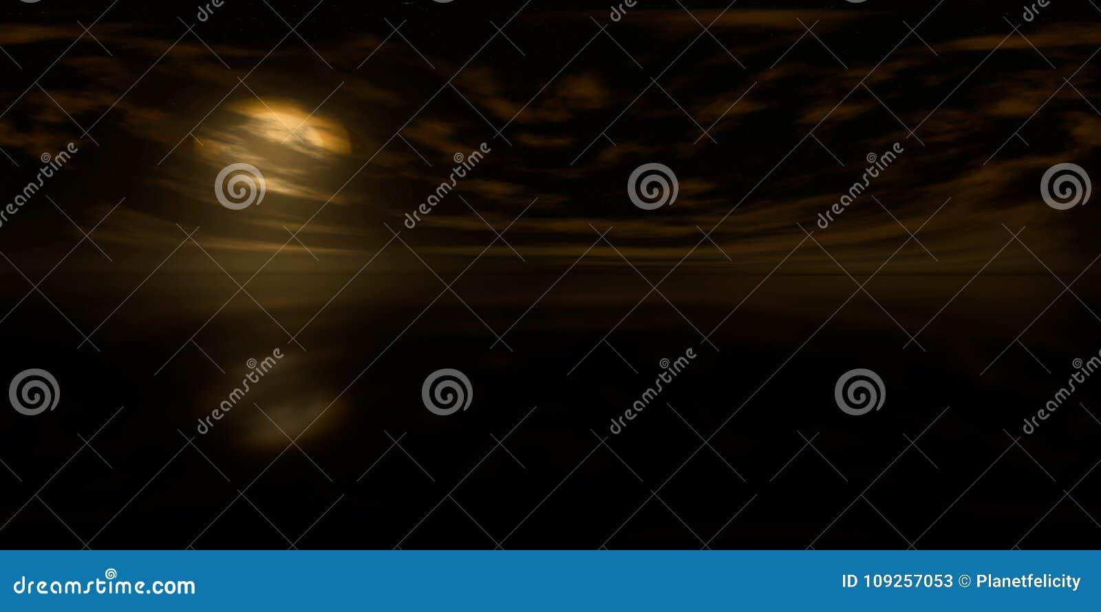 Mappa di alta risoluzione di HDRI: mappa dell ambiente per proiezione equirectangular ad alba, panorama sferico, backgroun dell i