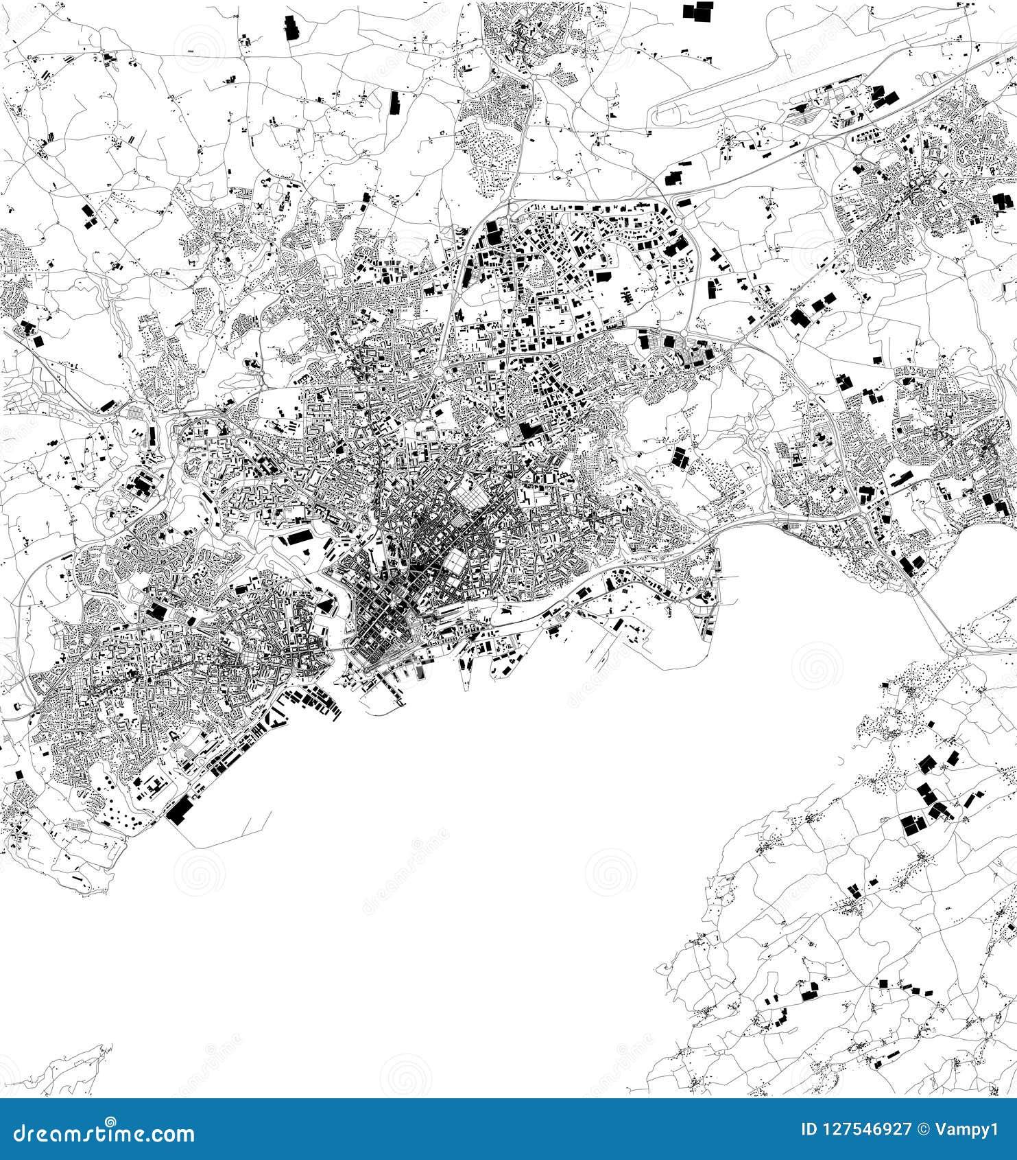 Cartina Della Francia In Bianco E Nero.Mappa Di Brest Francia Vista Satellite Mappa In Bianco E