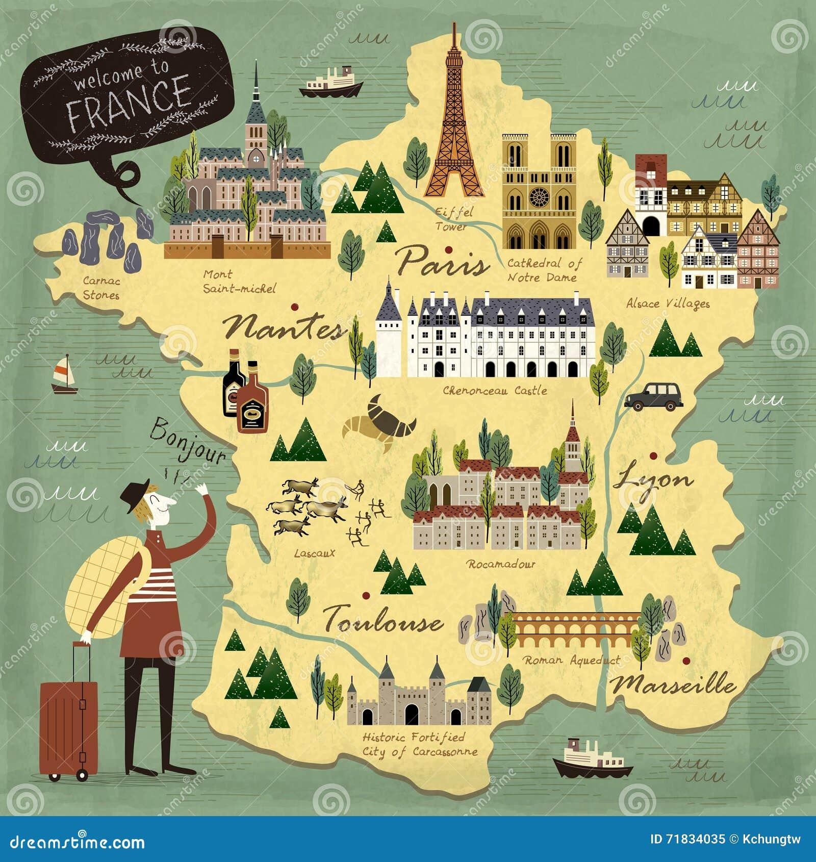 Cartina Della Francia Con Monumenti.Mappa Di Concetto Di Viaggio Della Francia Illustrazione Vettoriale Illustrazione Di Famoso Elegante 71834035