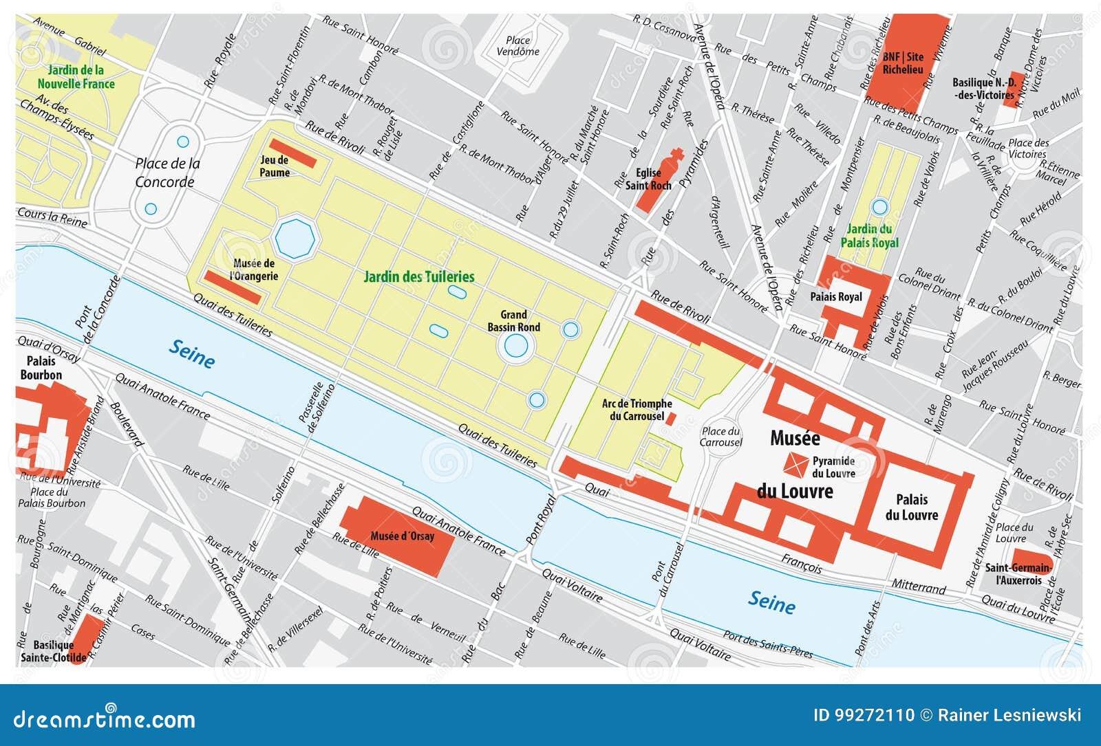 Cartina Di Parigi E Dintorni.Mappa Di Dintorni Del Museo Del Louvre A Parigi Francia Illustrazione Vettoriale Illustrazione Di Parigi Profilo 99272110