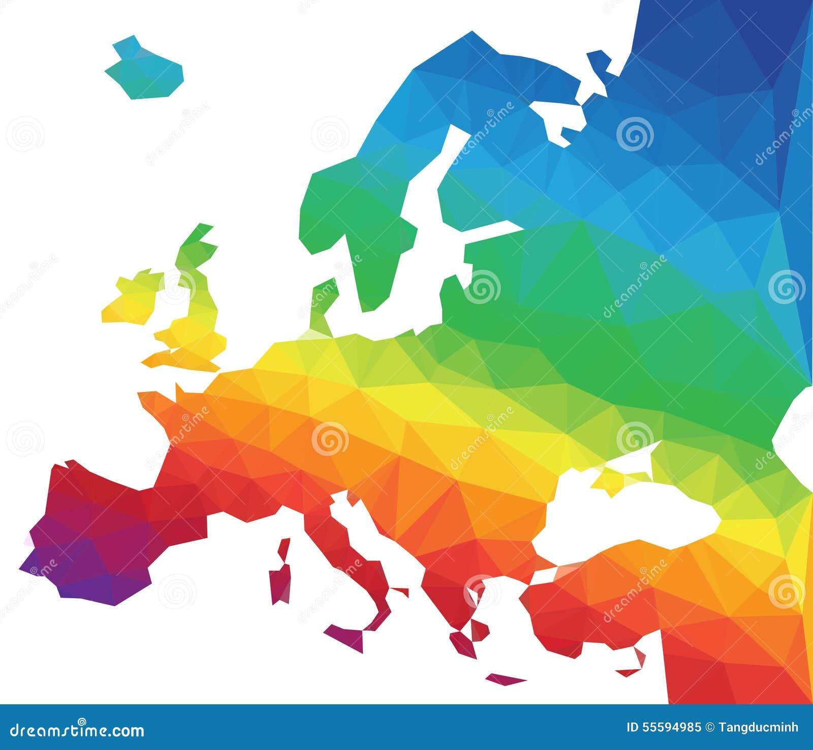 Mappa di Europa di vettore del poligono