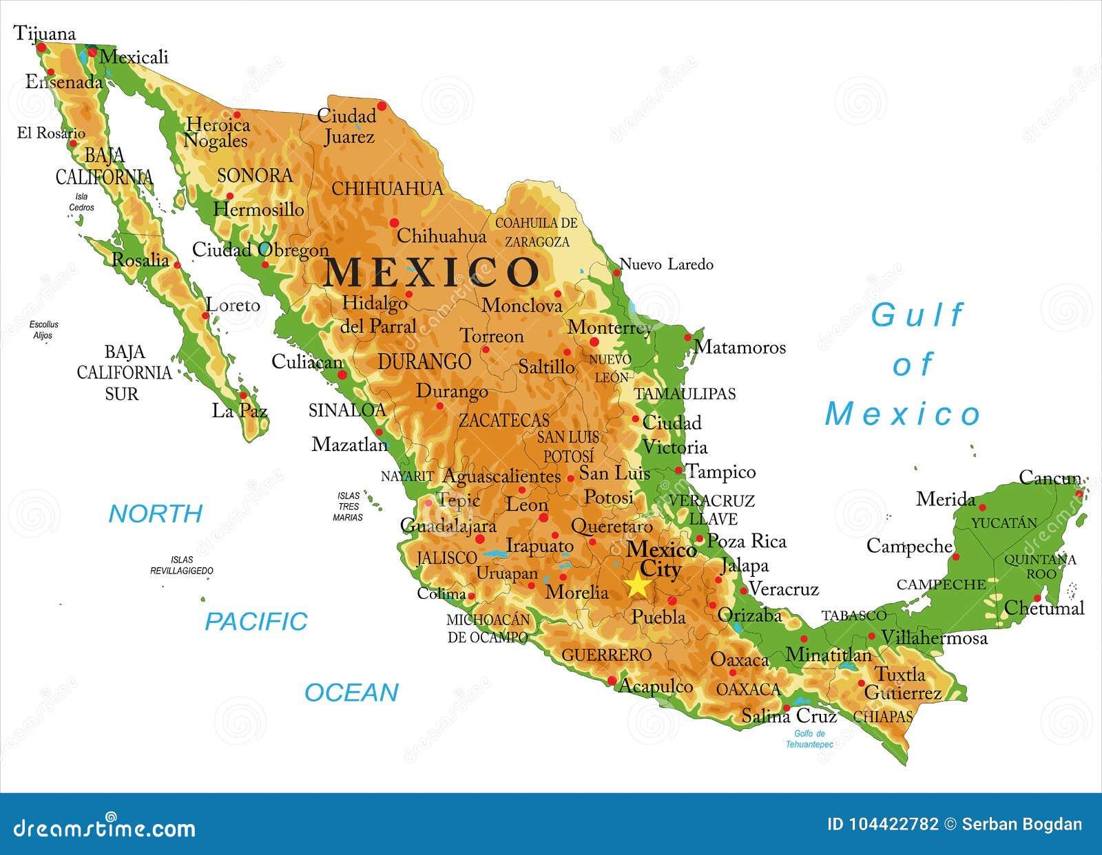 Cartina Del Messico Politica.Mappa Di Fisico Medica Del Messico Illustrazione Vettoriale Illustrazione Di Puebla Strada 104422782