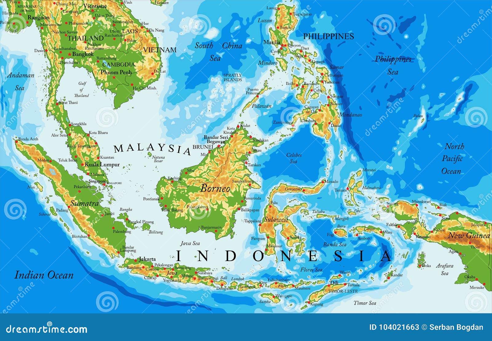 Cartina Dell Indonesia.Mappa Di Fisico Medica Dell Indonesia Illustrazione Vettoriale Illustrazione Di Cartografia Dettagliato 104021663