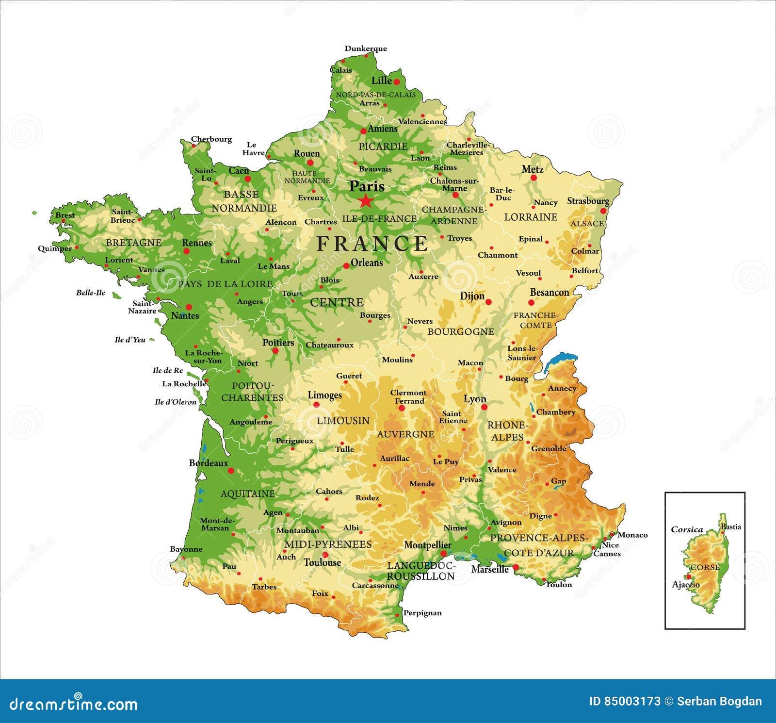 Cartina Topografica Della Francia.Mappa Di Fisico Medica Della Francia Illustrazione Vettoriale