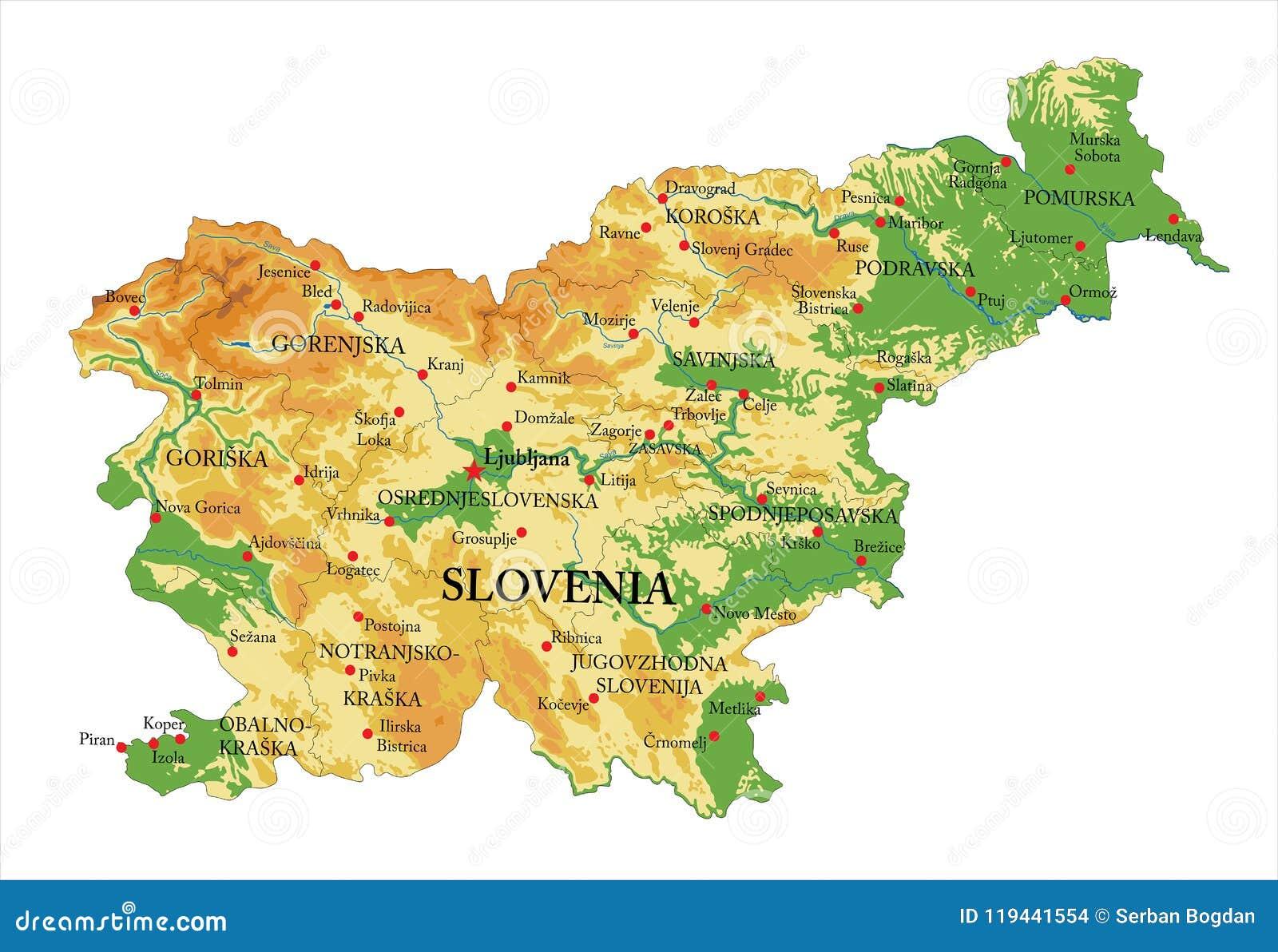Cartina Della Slovenia E Croazia.Mappa Di Fisico Medica Della Slovenia Illustrazione Vettoriale Illustrazione Di Citta Cartografia 119441554