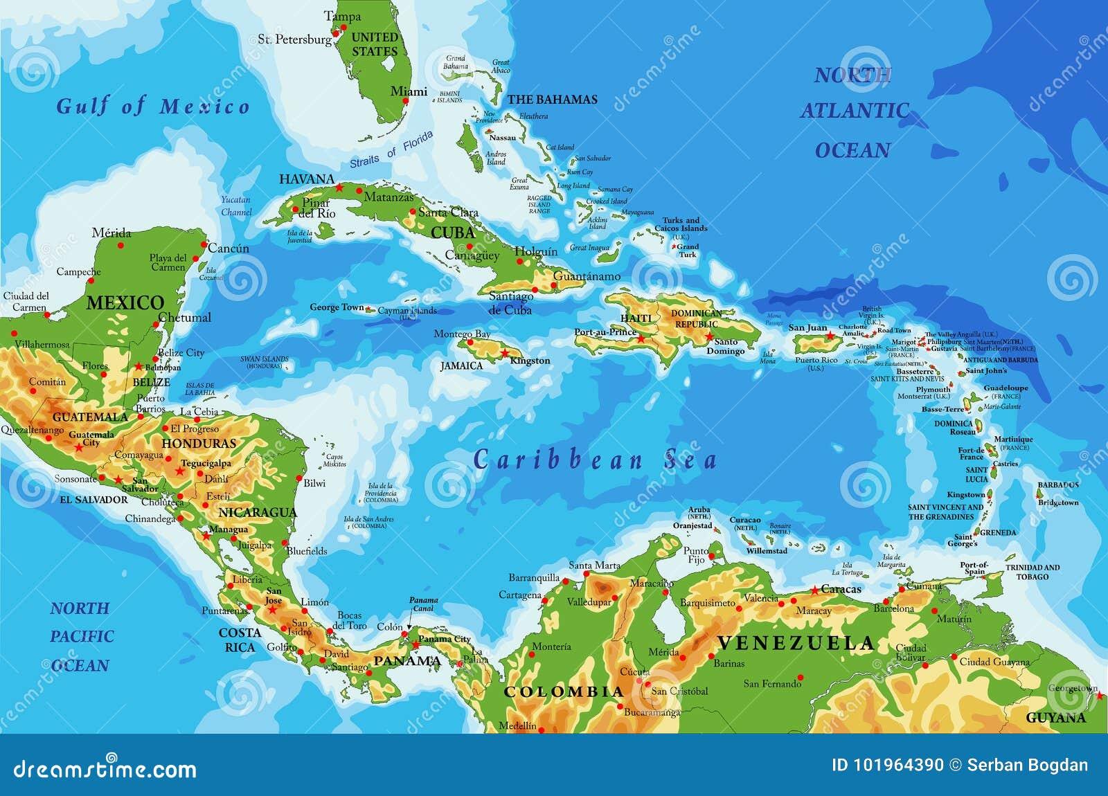 Cartina Fisica Dell America Centrale.Mappa Di Fisico Medica Delle Isole Dei Caraibi E Dell