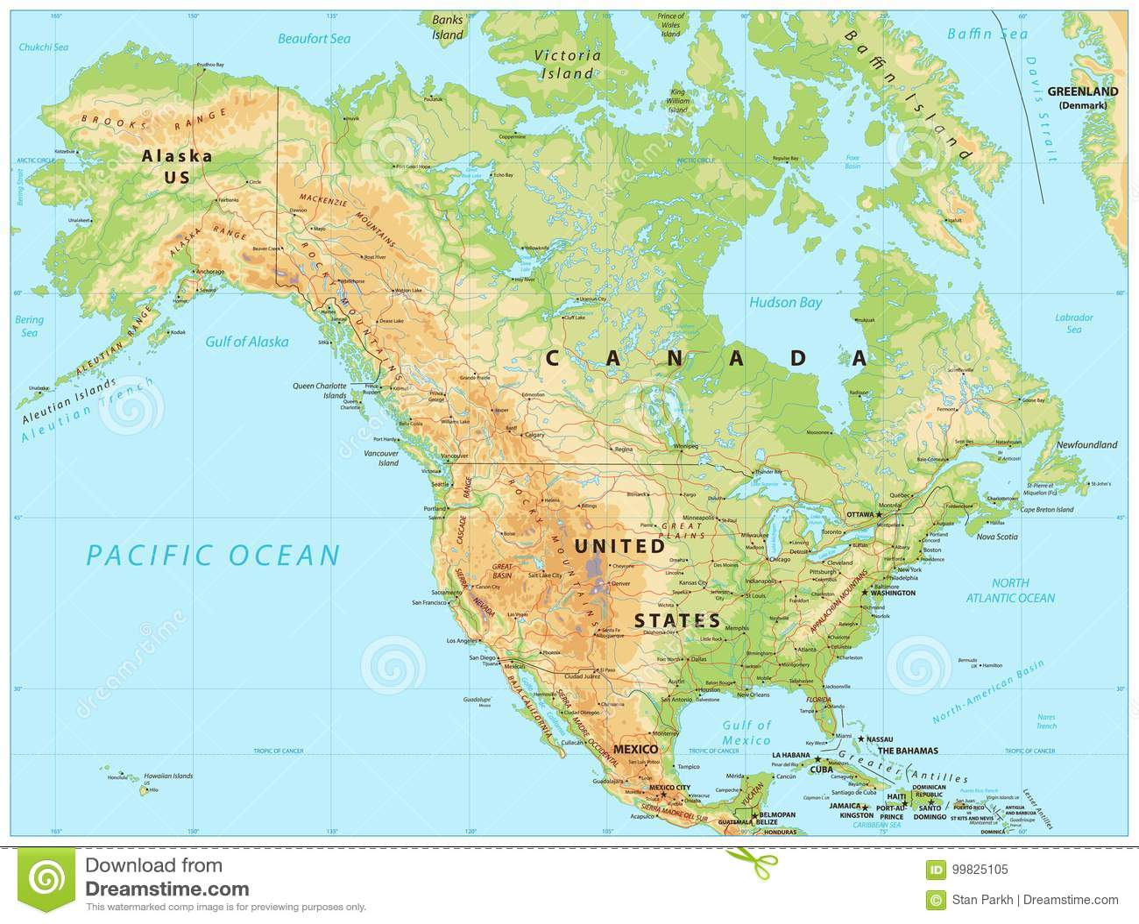 America Nord Cartina Fisica.Mappa Di Fisico Medica Di Nord America Illustrazione