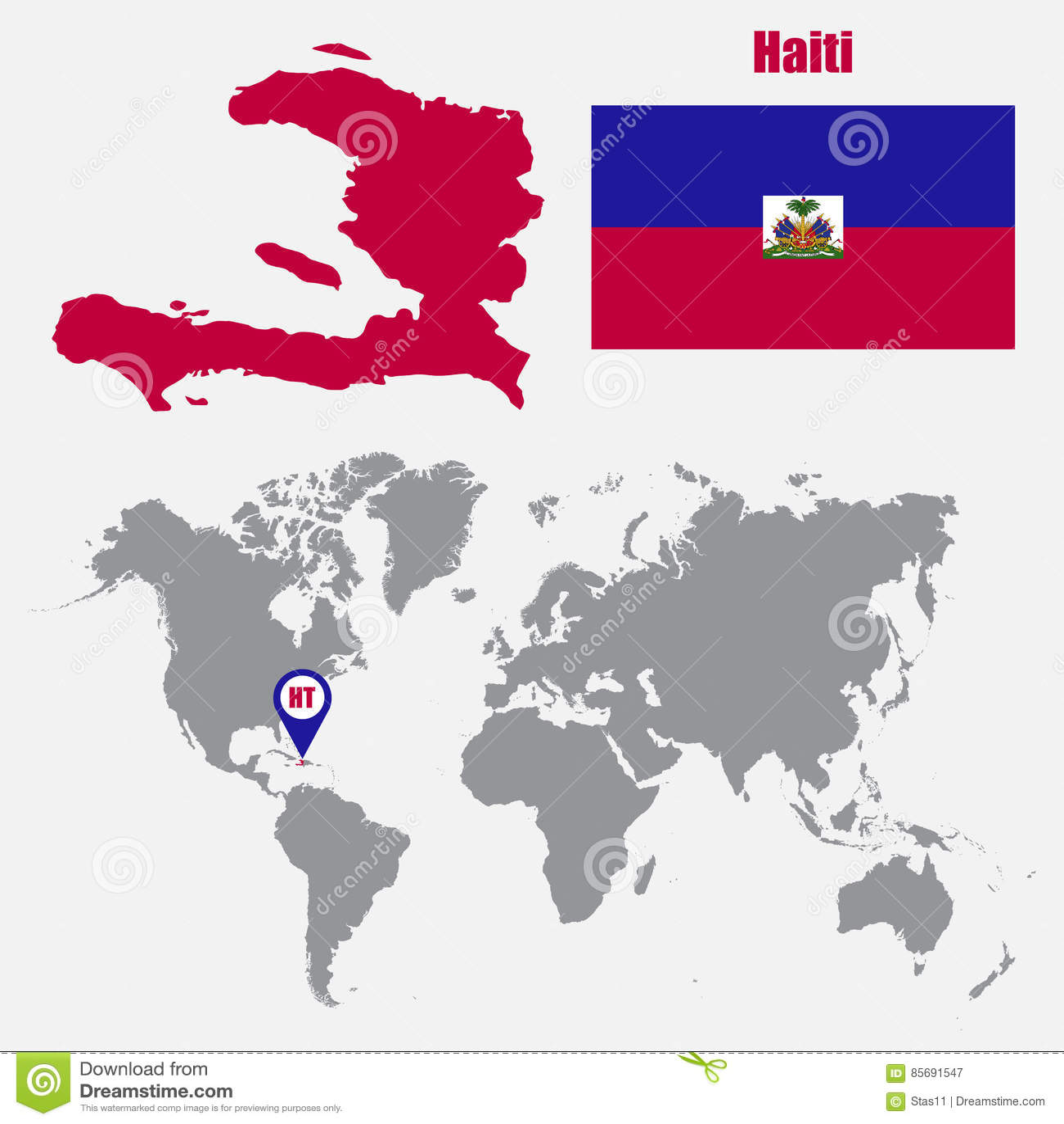 Mappa di Haiti su una mappa di mondo con il puntatore della mappa e della bandiera Illustrazione di vettore