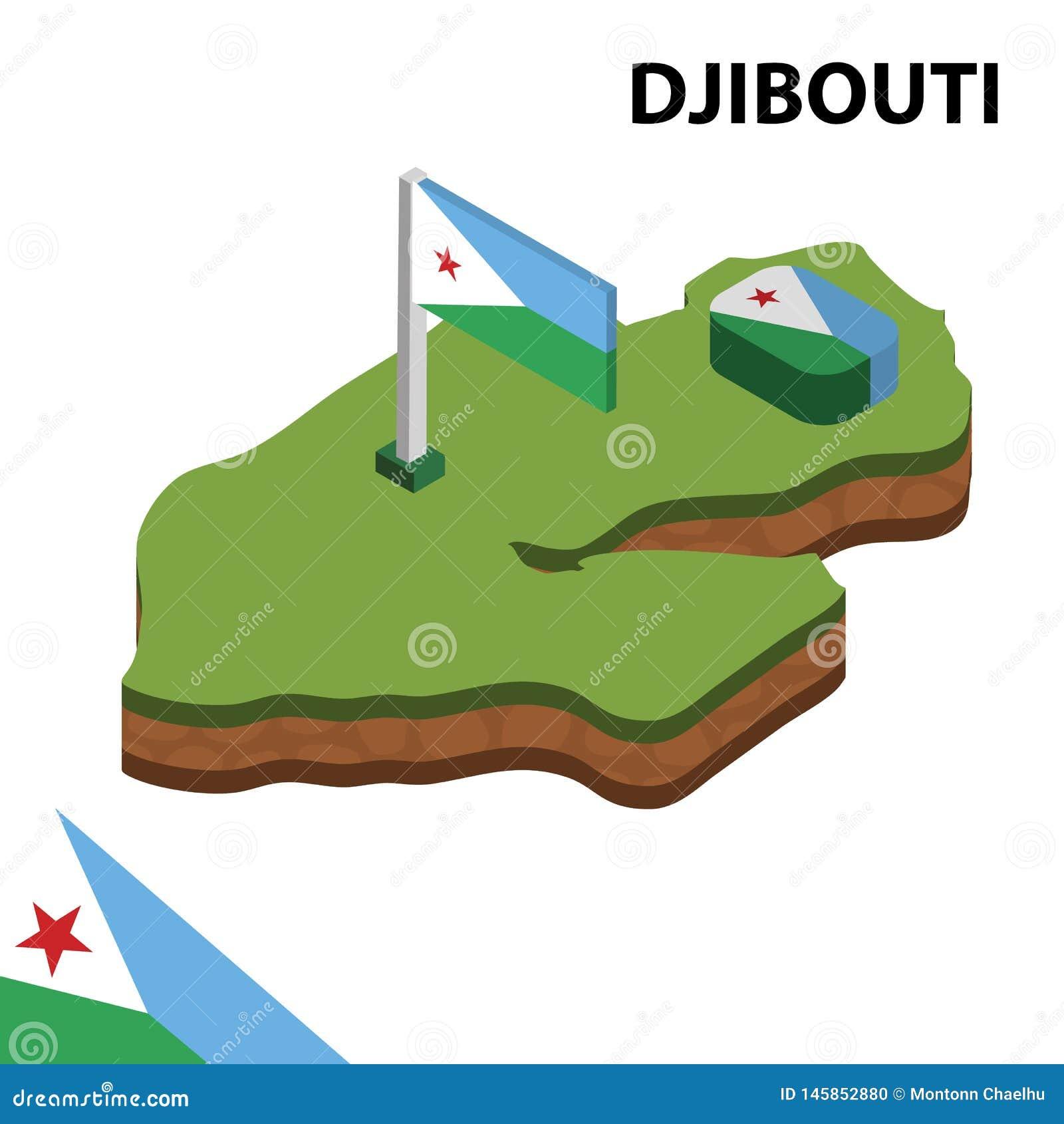 Mappa di informazioni e bandiera isometriche grafiche di GIBUTI illustrazione isometrica di vettore 3d