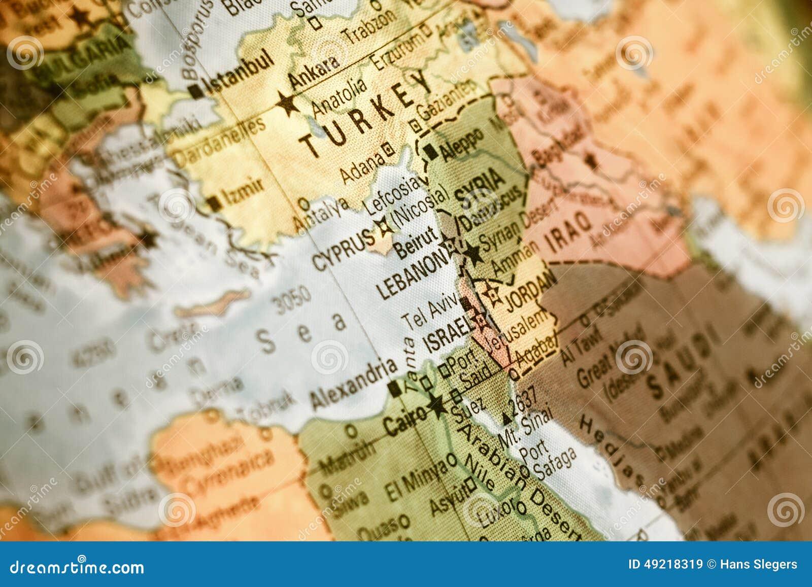 Cartina Libano E Israele.Mappa Di Israele Turchia Giordania Libano Immagine Stock Immagine Di Closeup Selettivo 49218319