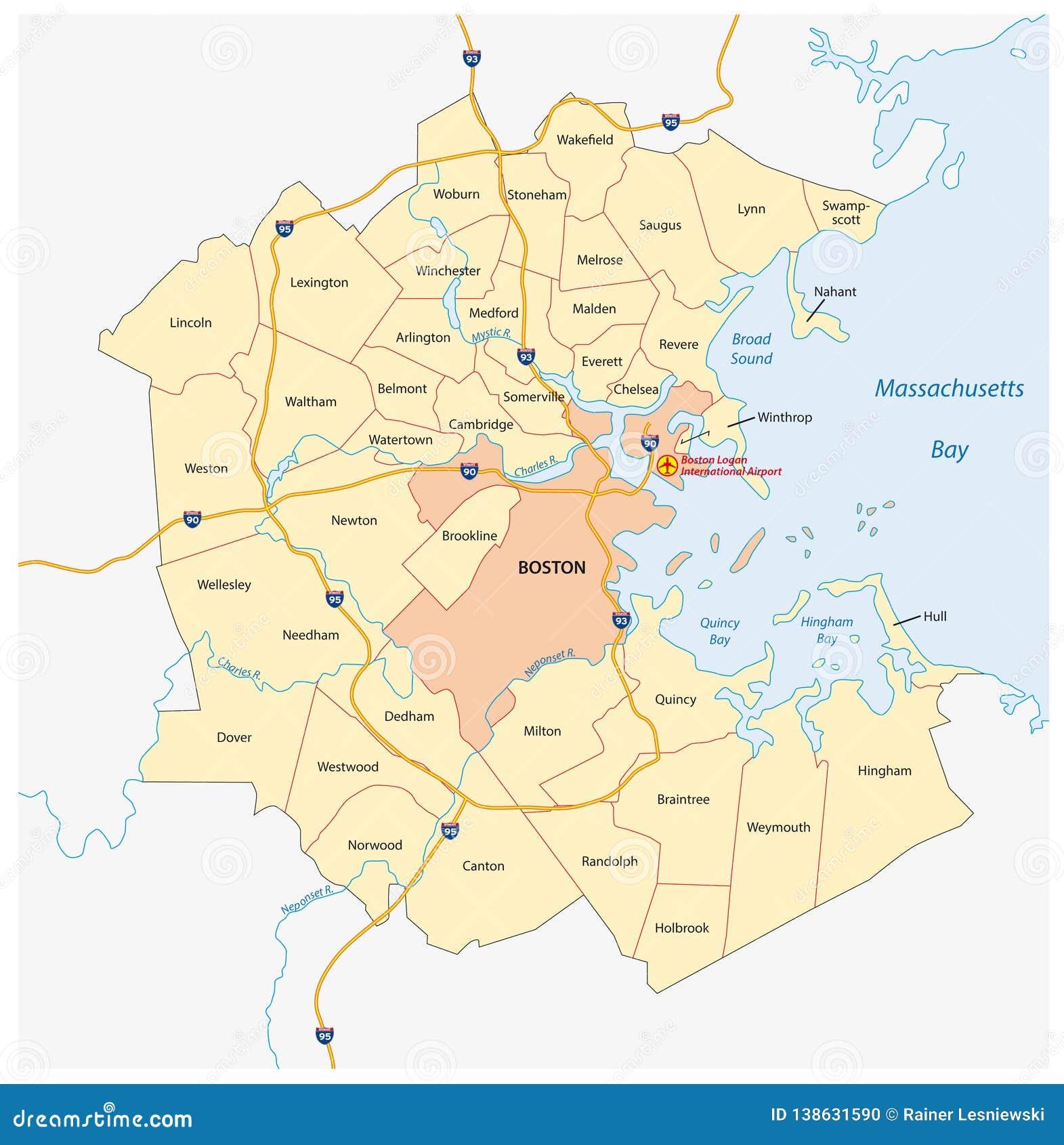 Boston Cartina Stati Uniti.Mappa Di Maggior Regione Metropolitana Di Boston Massachusetts Stati Uniti Di Vettore Illustrazione Vettoriale Illustrazione Di Geografia Amministrativo 138631590