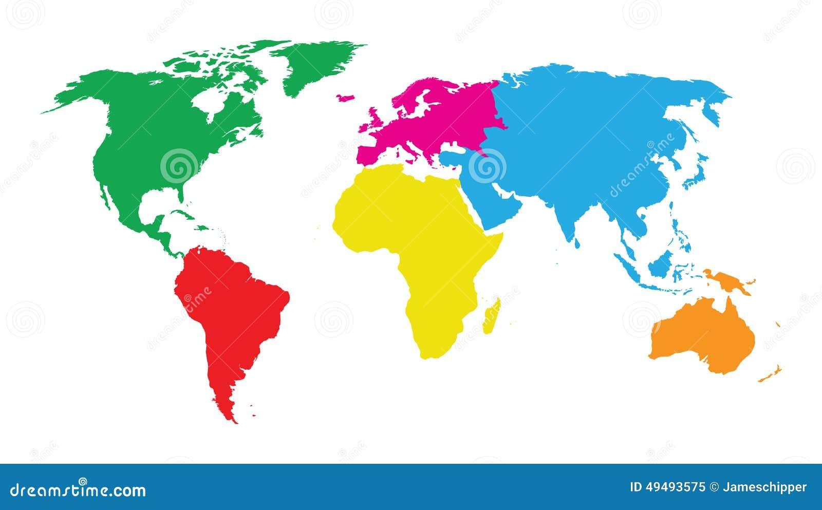 Mapa Y Ubicación Del Logo Azul Mapa Logotipo De: Mappa Di Mondo Colourful Dei Continenti Illustrazione