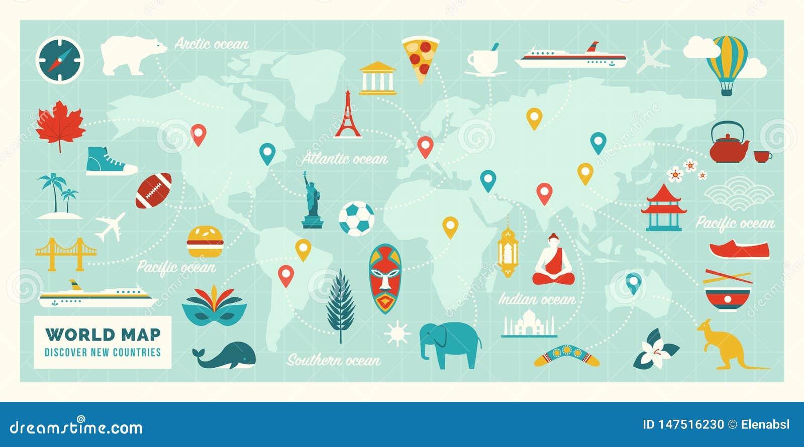 Mappa di mondo con gli itinerari, le destinazioni ed i punti di riferimento di viaggio