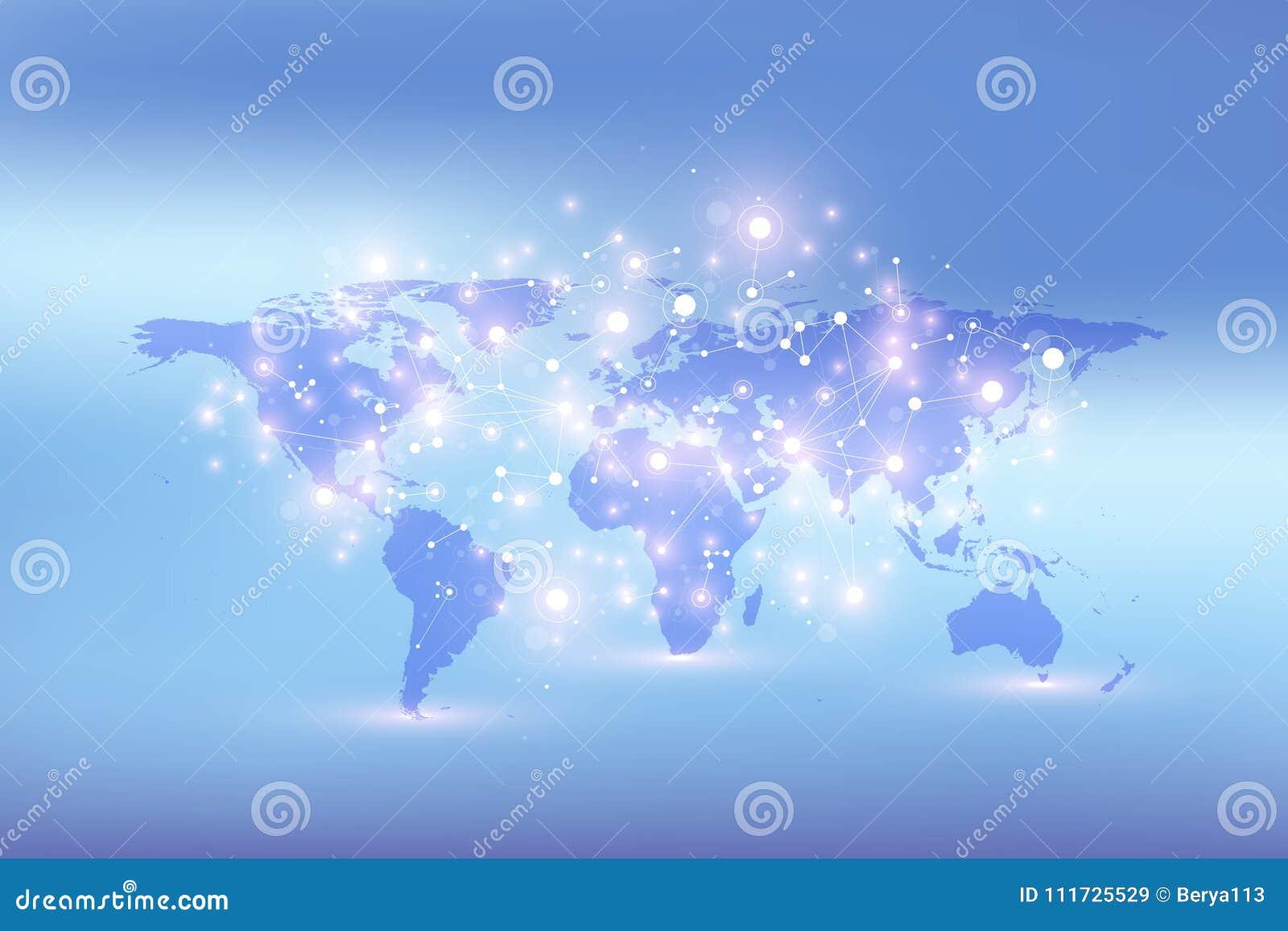 Mappa di mondo con il concetto globale della rete di tecnologia Visualizzazione di dati di Digital Allinea il plesso Grande fondo