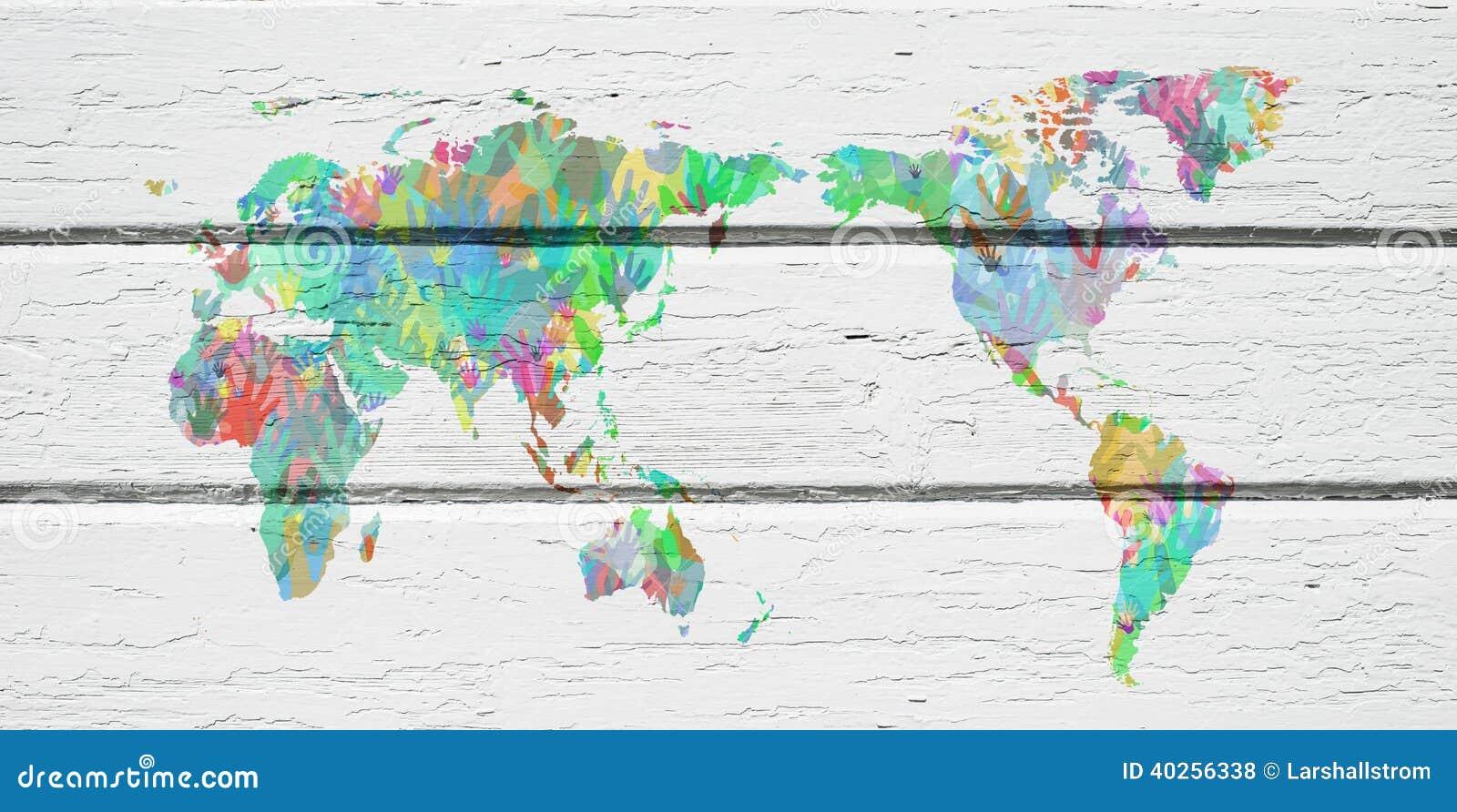 Mappa di mondo con le mani nei colori differenti - Immagine di terra a colori ...