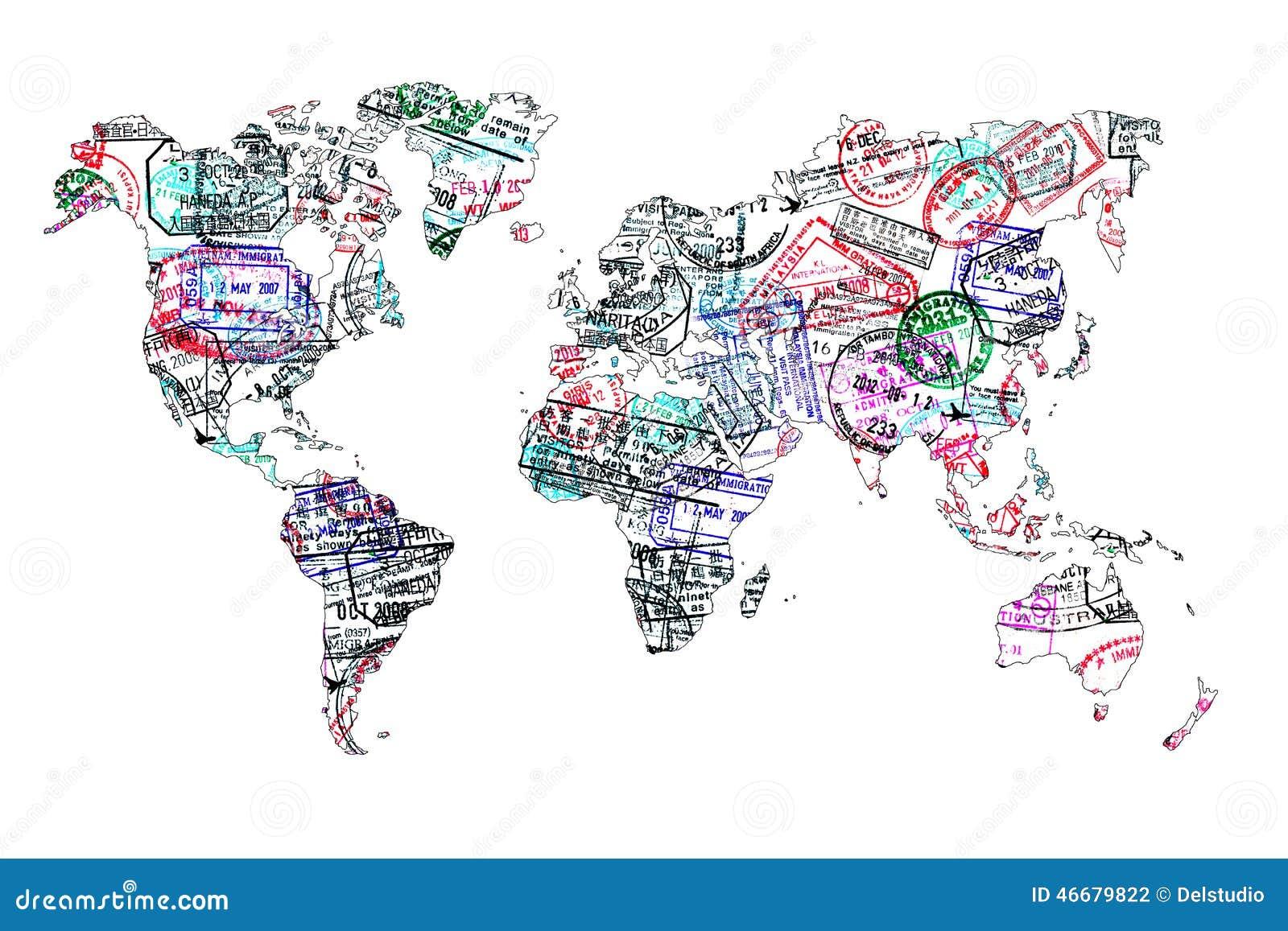 Mappa di mondo creata con i bolli del passaporto